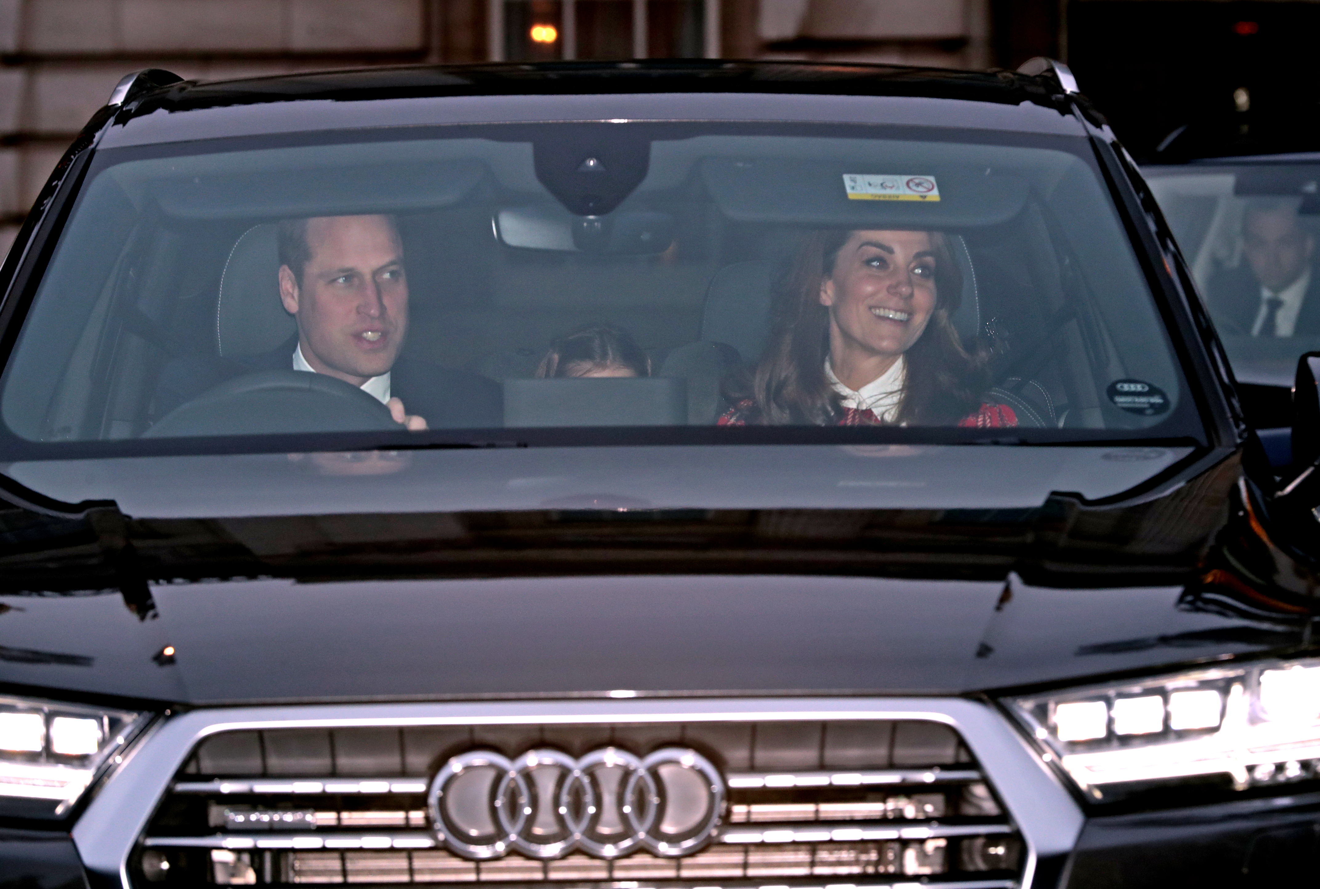 The Duke and Duchess of Cambridge leaving the Queen's Christmas lunch at Buckingham Palace, London.