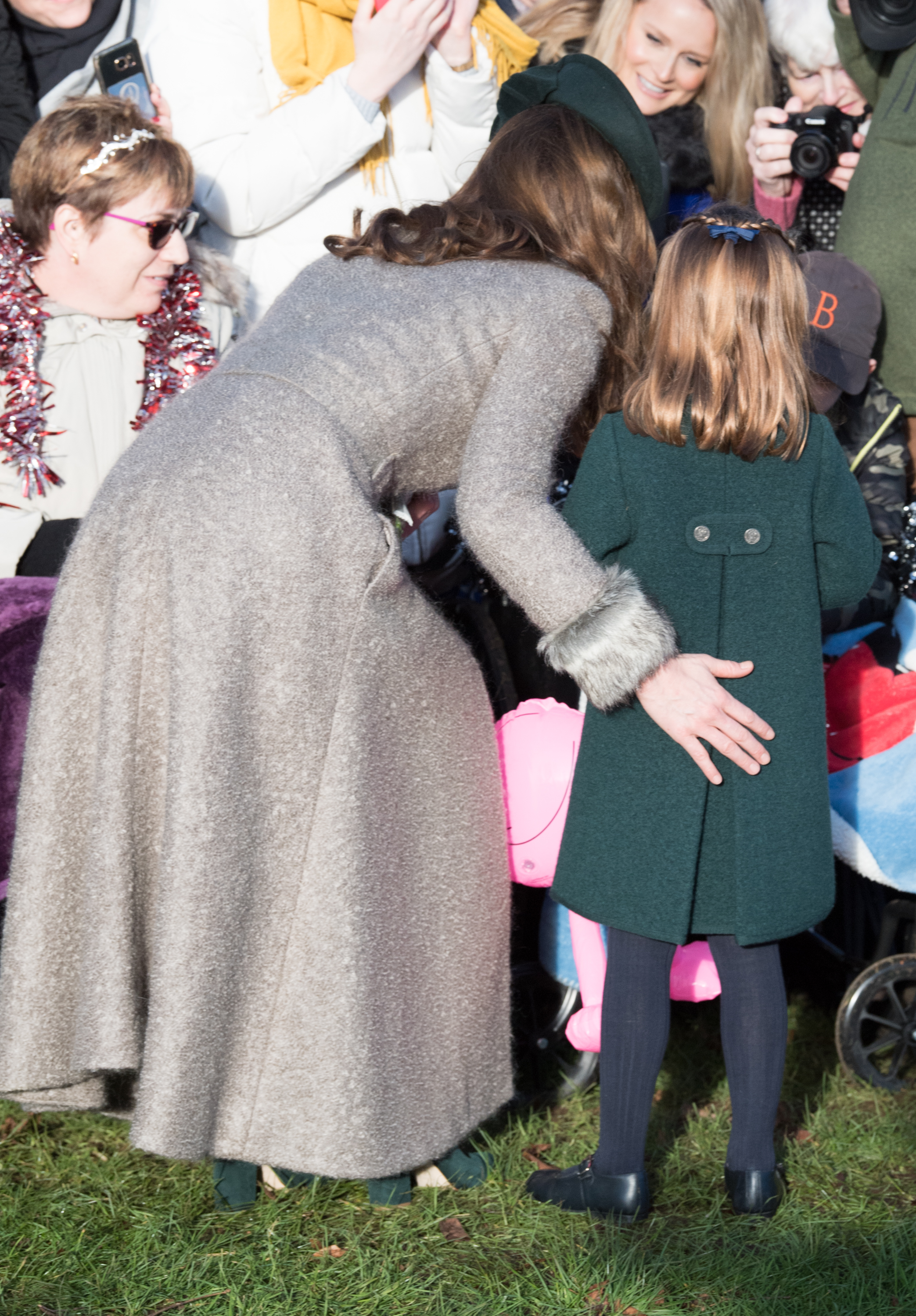 KING'S LYNN, ENGLAND - DECEMBER 25: Catherine, Duchess of Cambridge and Princess Charlotte of Cambridge attend the Christmas Day Church service at Church of St Mary Magdalene on the Sandringham estate on December 25, 2019 in King's Lynn, United Kingdom. (Photo by Pool/Samir Hussein/WireImage)