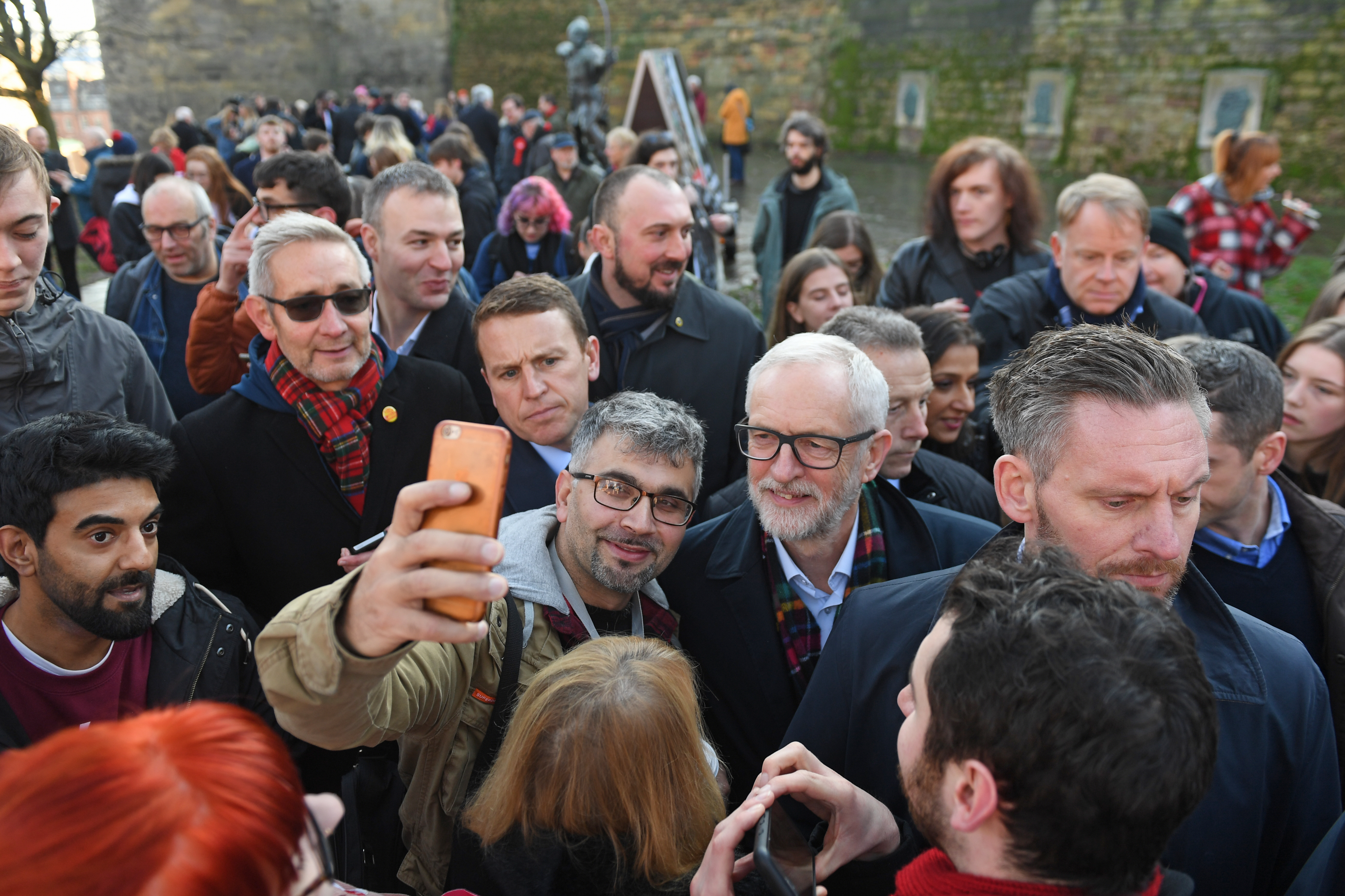 Labour leader Jeremy Corbyn has his photo taken with supporters in Nottingham, while on the General Election campaign trail.