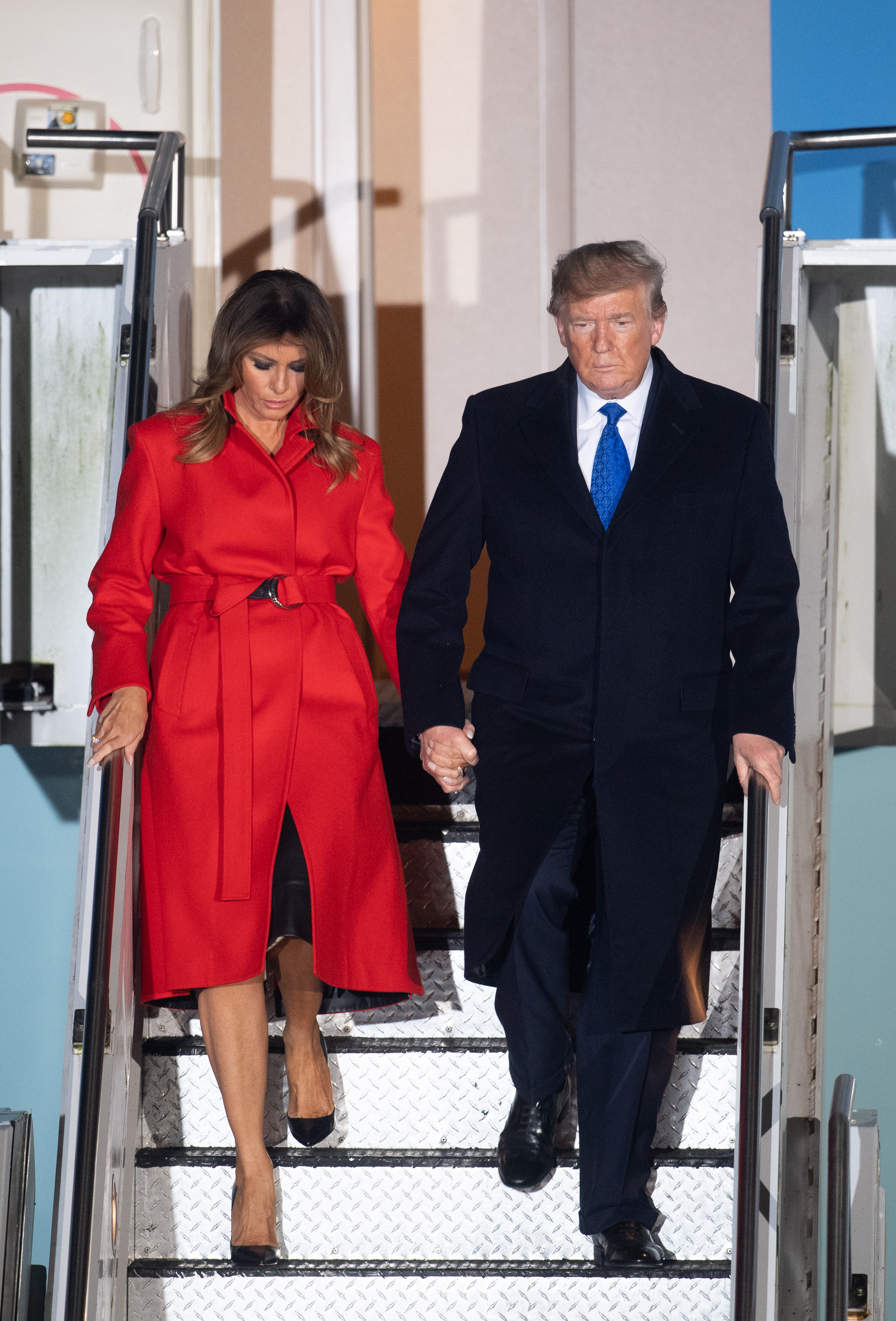US President Donald Trump and his wife Melania, arrive at Stansted Airport, London, ahead of the NATO summit, on the first day of his visit to the United Kingdom.