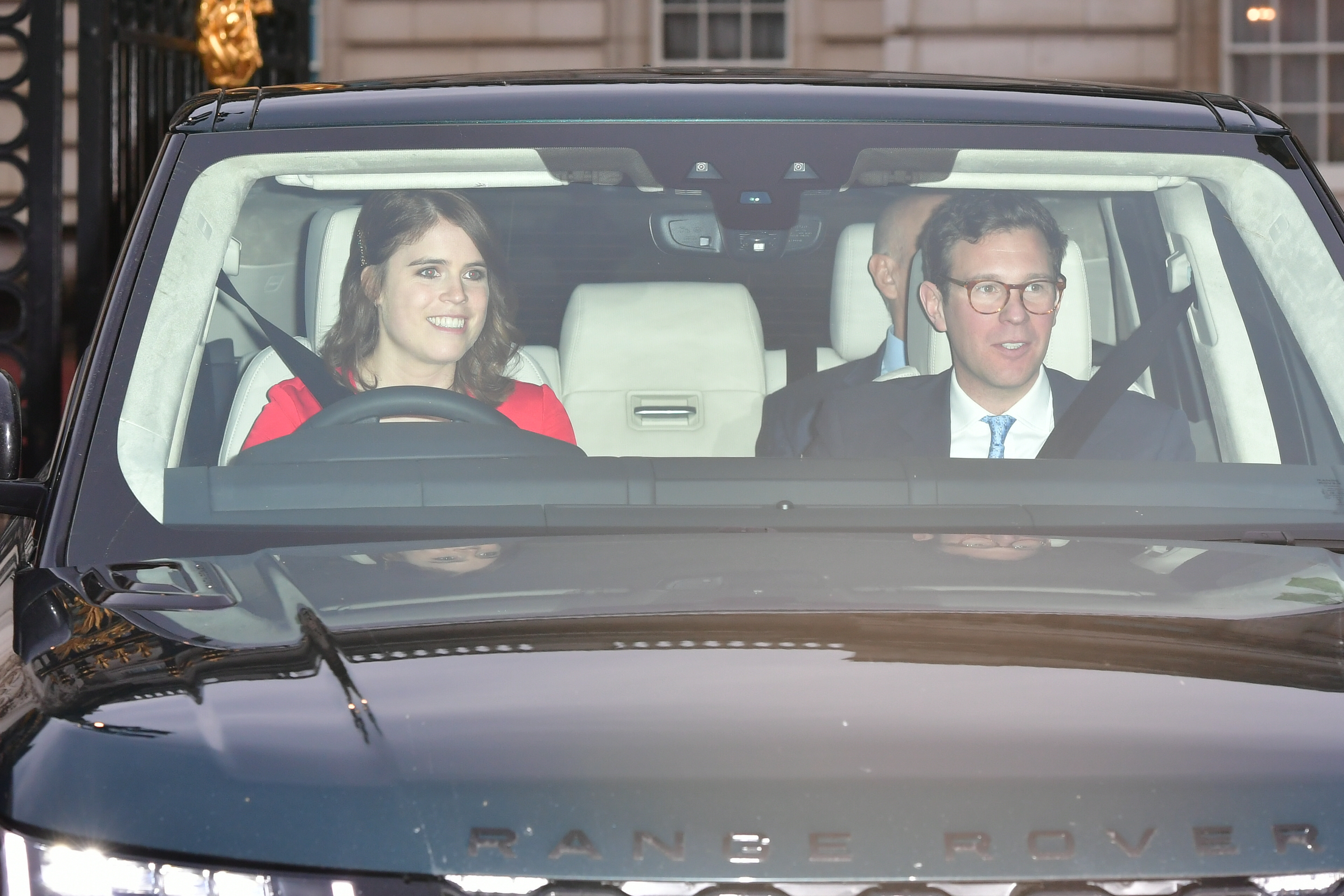 Princess Eugenie and her husband Jack Brooksbank leaving the Queen's Christmas lunch at Buckingham Palace, London.