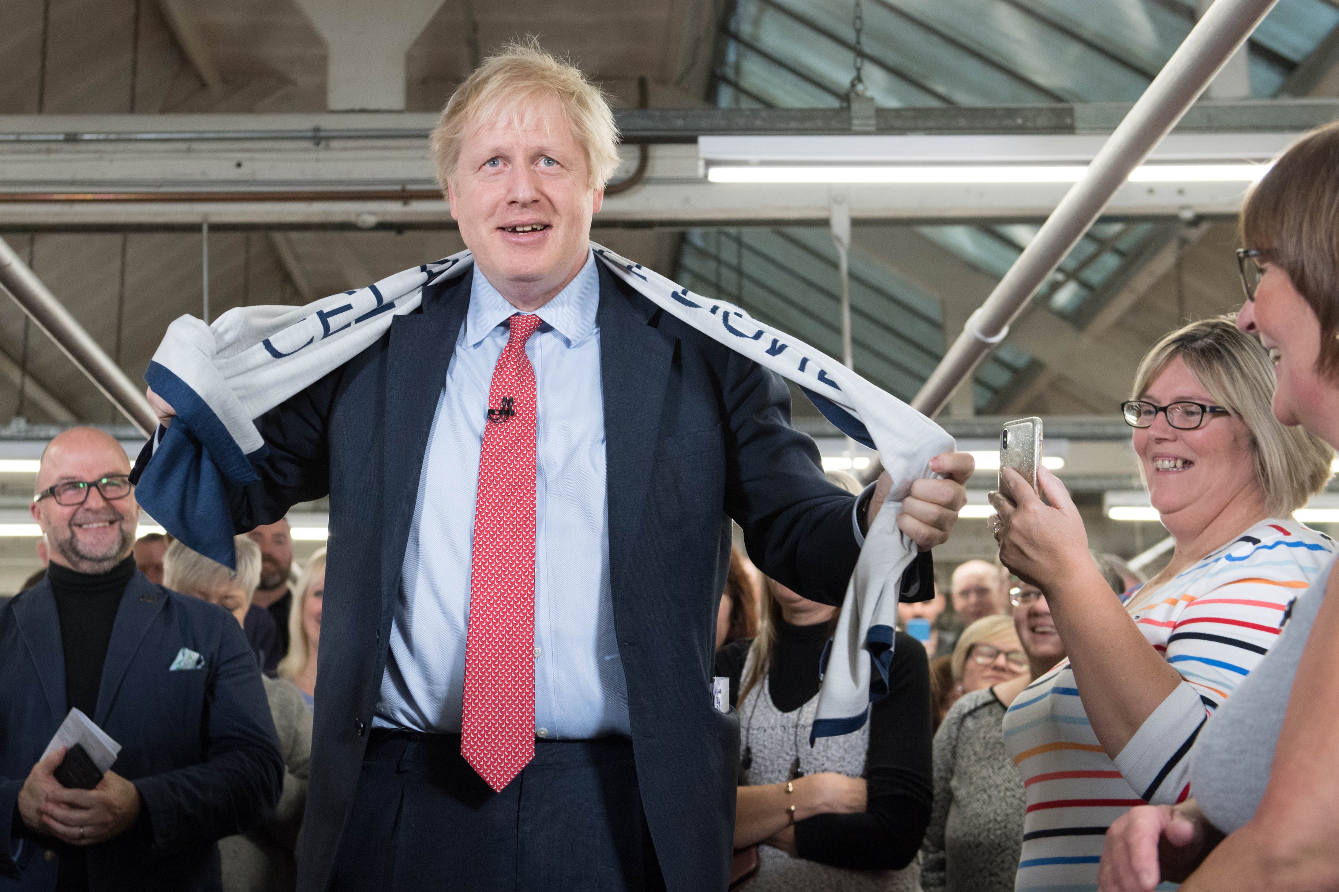 Prime Minister Boris Johnson speaking during a visit to the John Smedley Mill, while election campaigning in Matlock, Derbyshire.