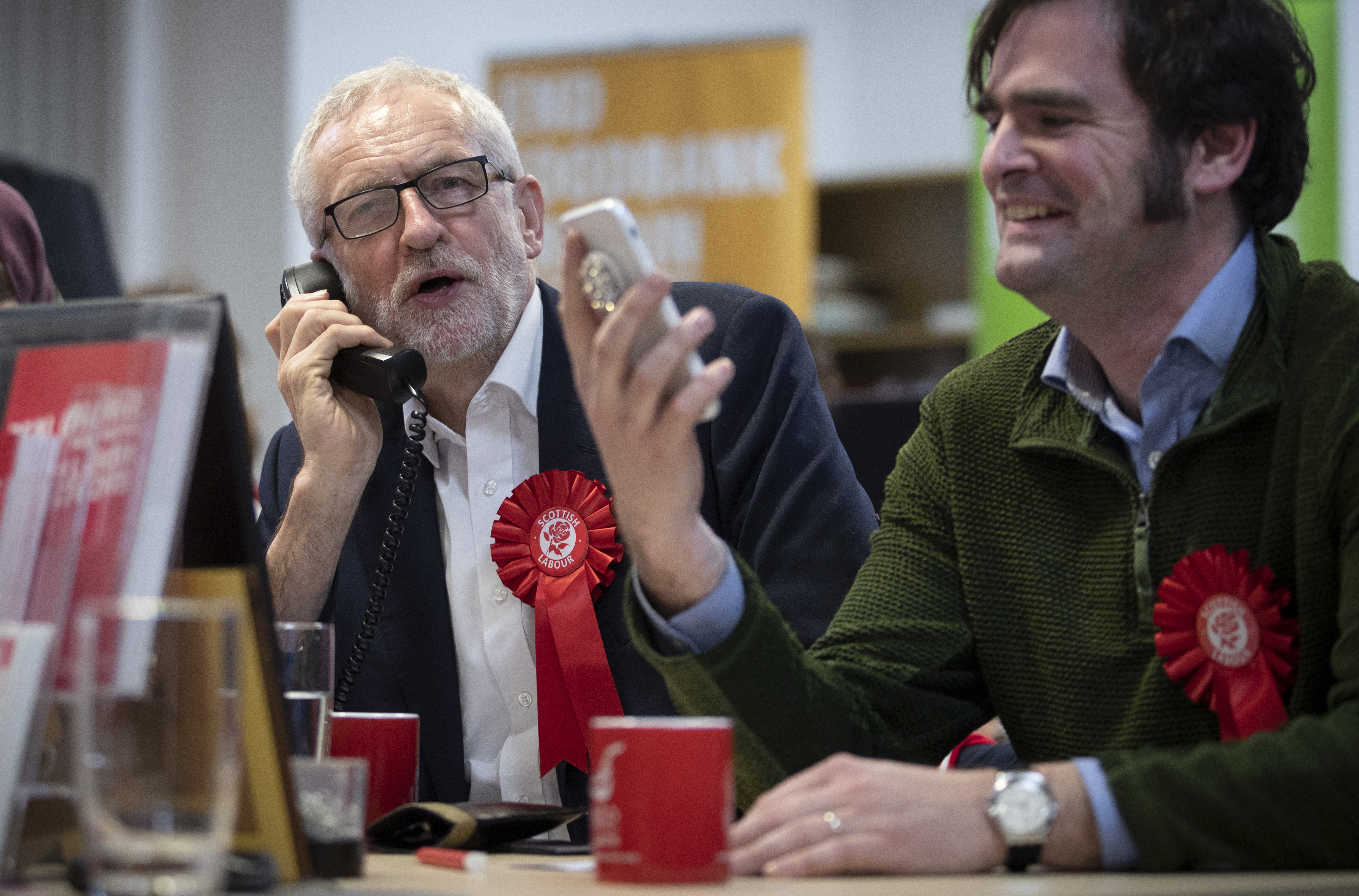 Labour leader Jeremy Corbyn joins a phone banking session with party activists at the Scottish Labour Party headquarters in Glasgow, while on the General Election campaign trail.