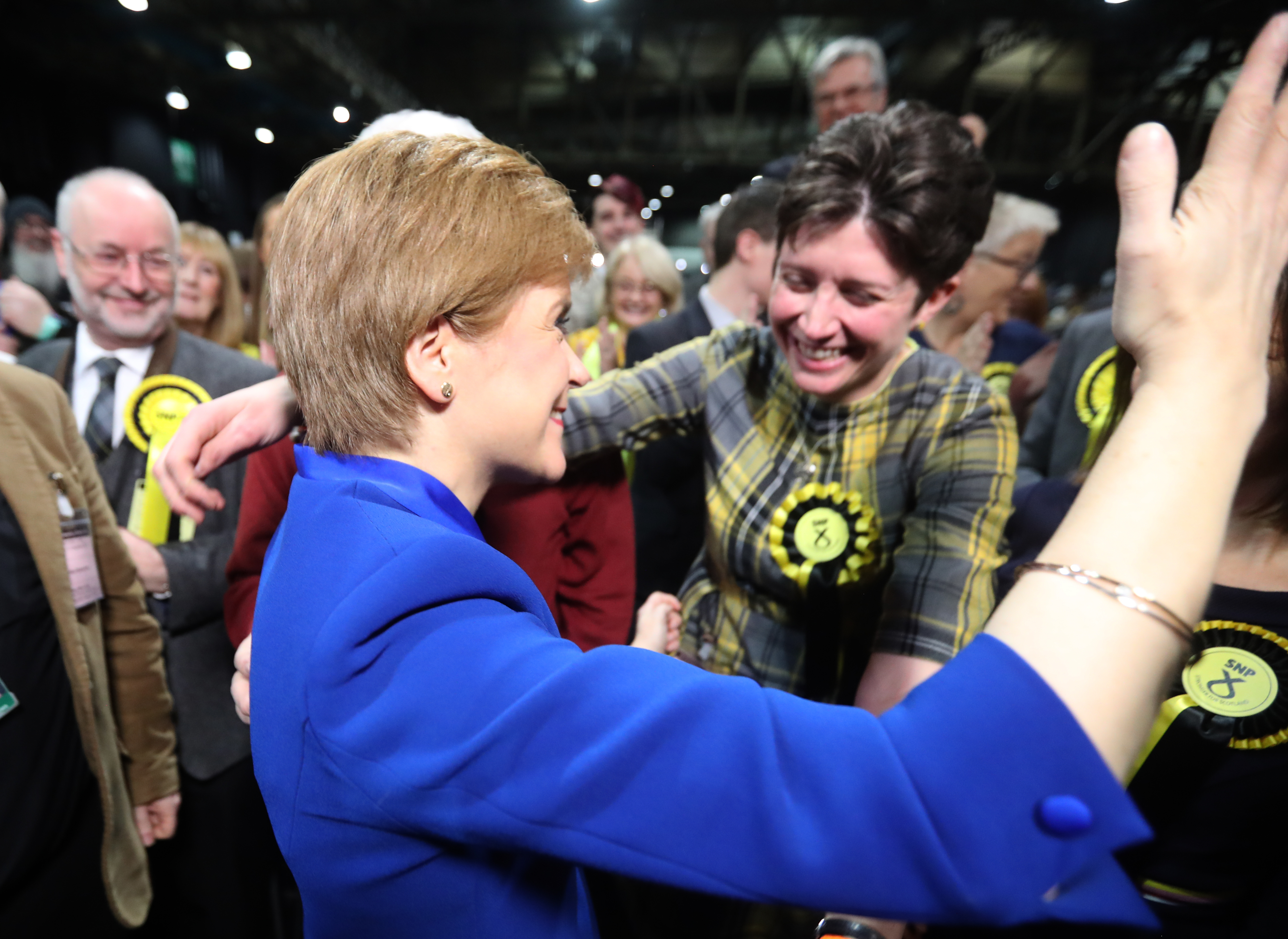 First Minister Nicola Sturgeon celebrates with supporters at the SEC Centre in Glasgow during counting for the 2019 General Election. (Photo by Andrew Milligan/PA Images via Getty Images)