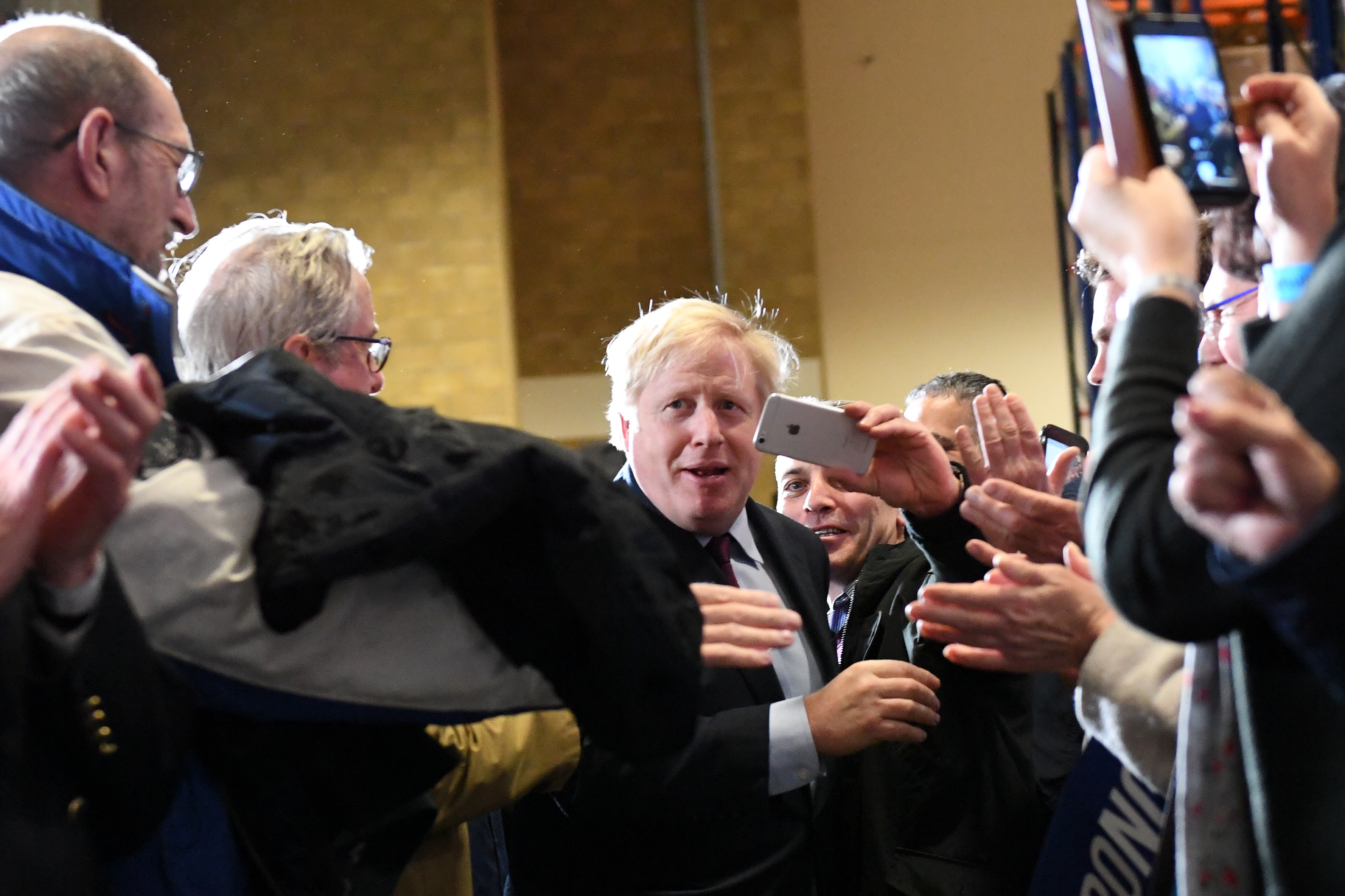 Prime Minister Boris Johnson during a visit to Gardiner Bros in Hardwicke, while on the General Election campaign trail.