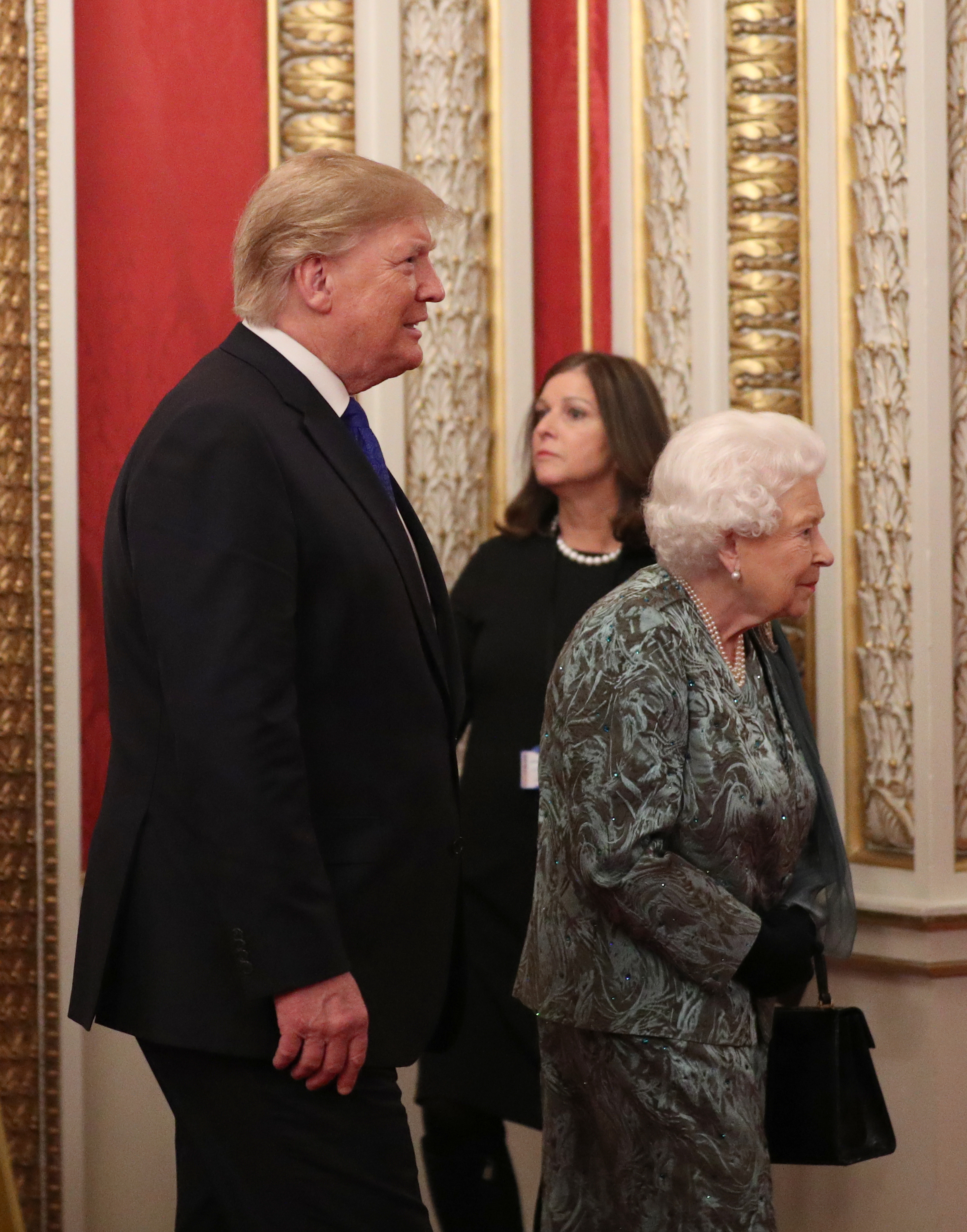 Queen Elizabeth II with US President Donald Trump during a reception at Buckingham Palace, London, as Nato leaders attend to mark 70 years of the alliance.