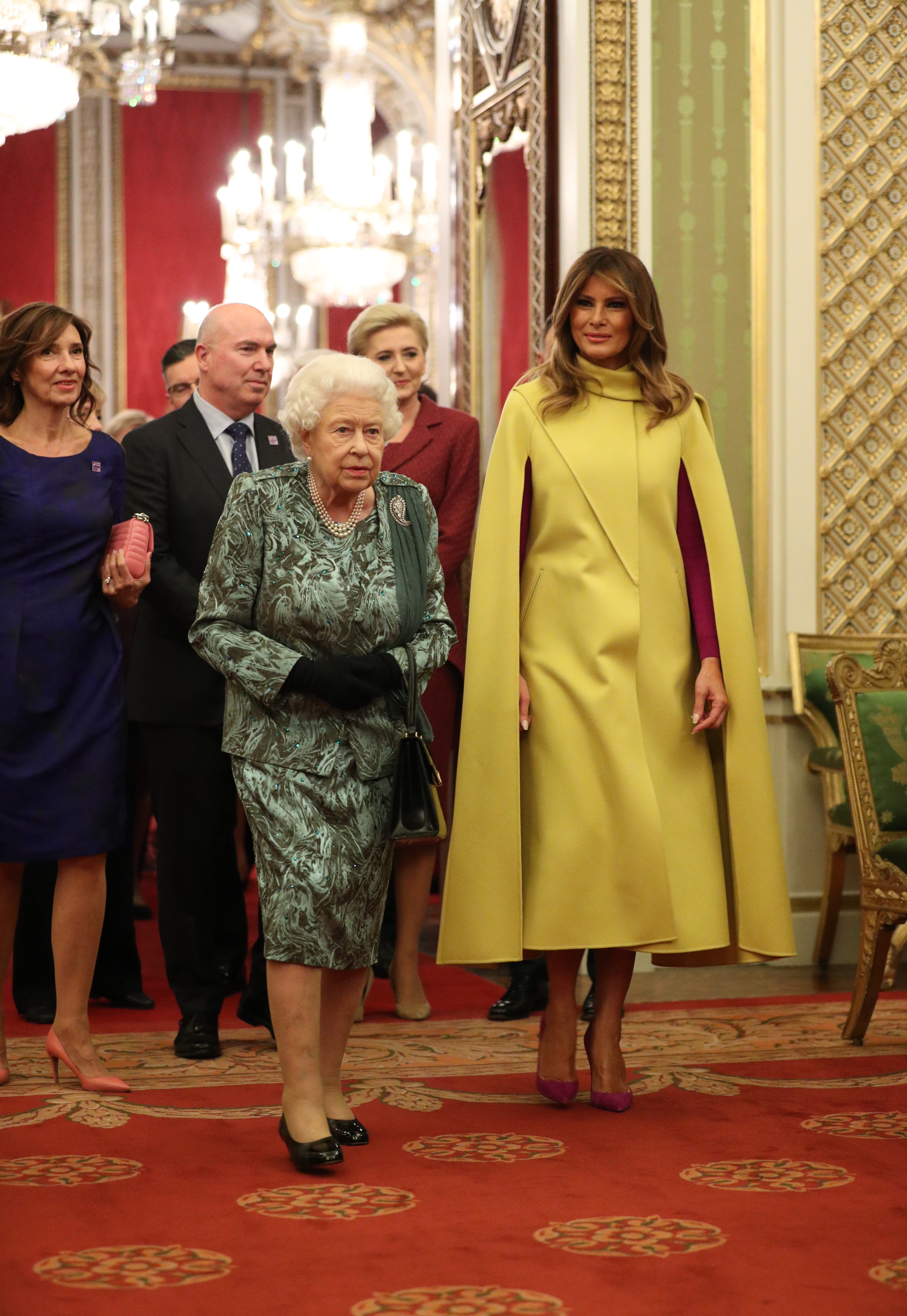Queen Elizabeth II with Melania Trump during the reception in Buckingham Palace, London, as Nato leaders gather to mark 70 years of the alliance.