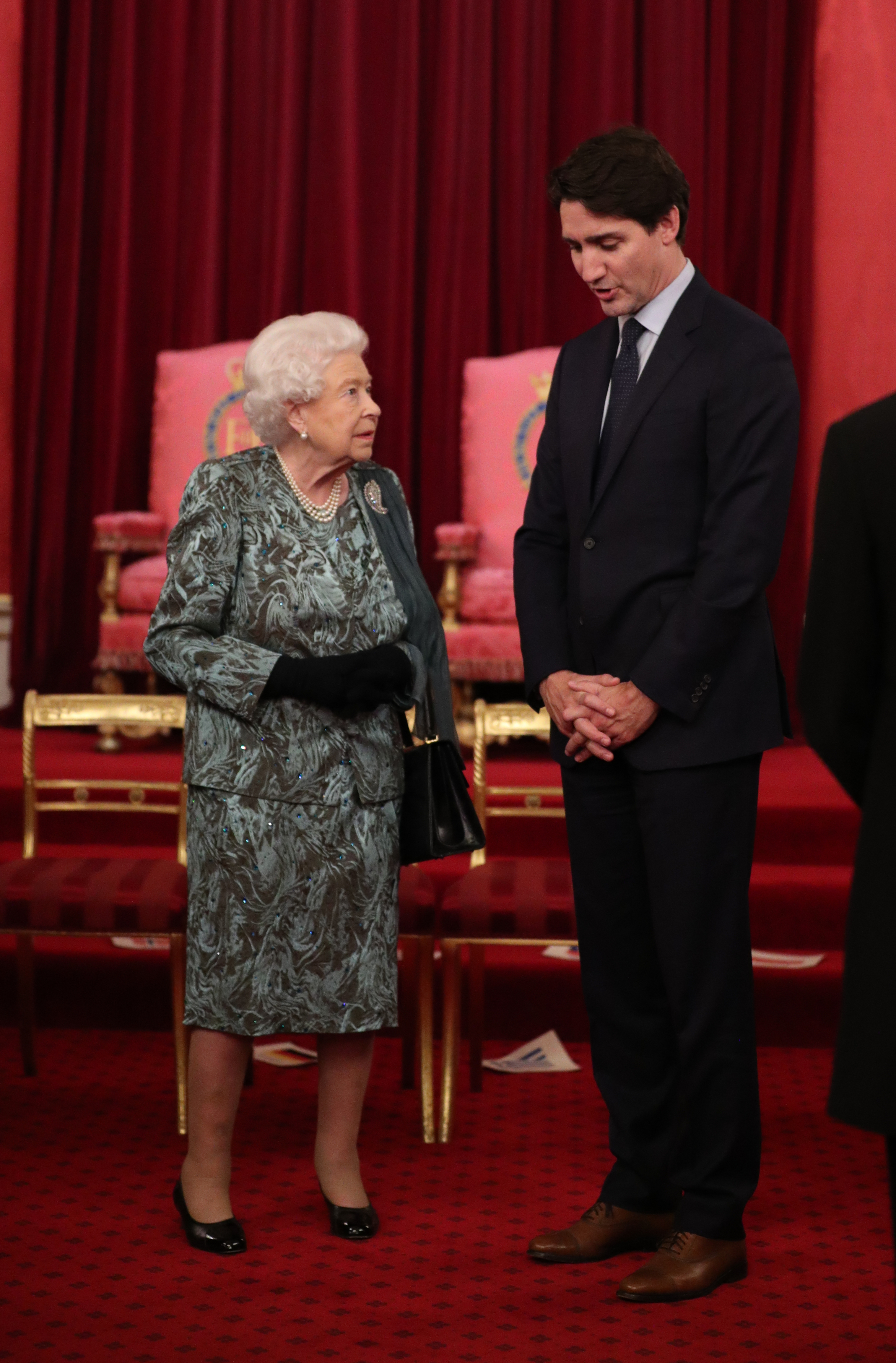 Queen Elizabeth II with Canadian Prime Minister Justin Trudeau during the reception in Buckingham Palace, London, as Nato leaders gather to mark 70 years of the alliance.