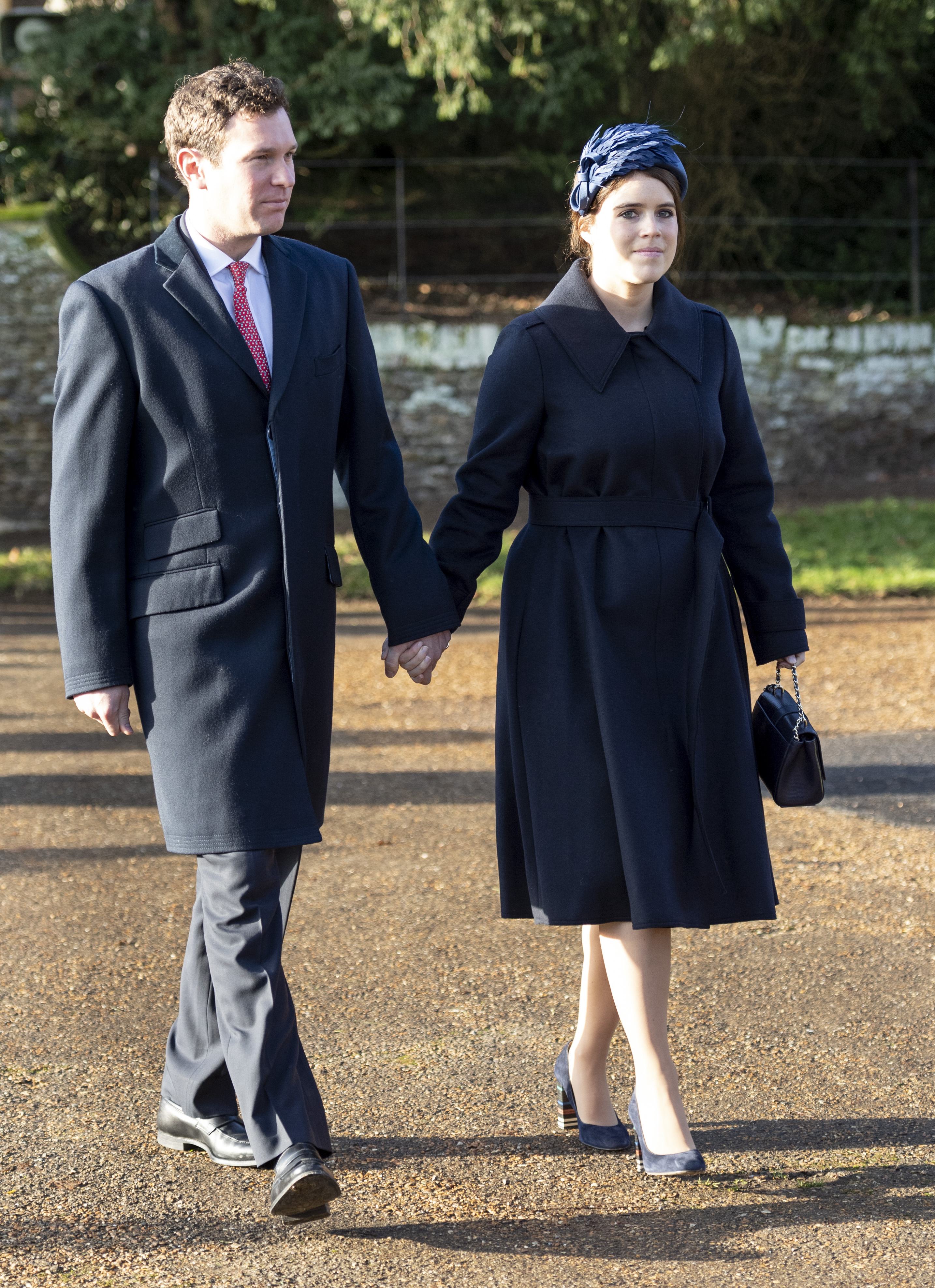 KING'S LYNN, ENGLAND - DECEMBER 25: Princess Eugenie and Jack Brooksbank attend the Christmas Day Church service at Church of St Mary Magdalene on the Sandringham estate on December 25, 2019 in King's Lynn, United Kingdom. (Photo by UK Press Pool/UK Press via Getty Images)
