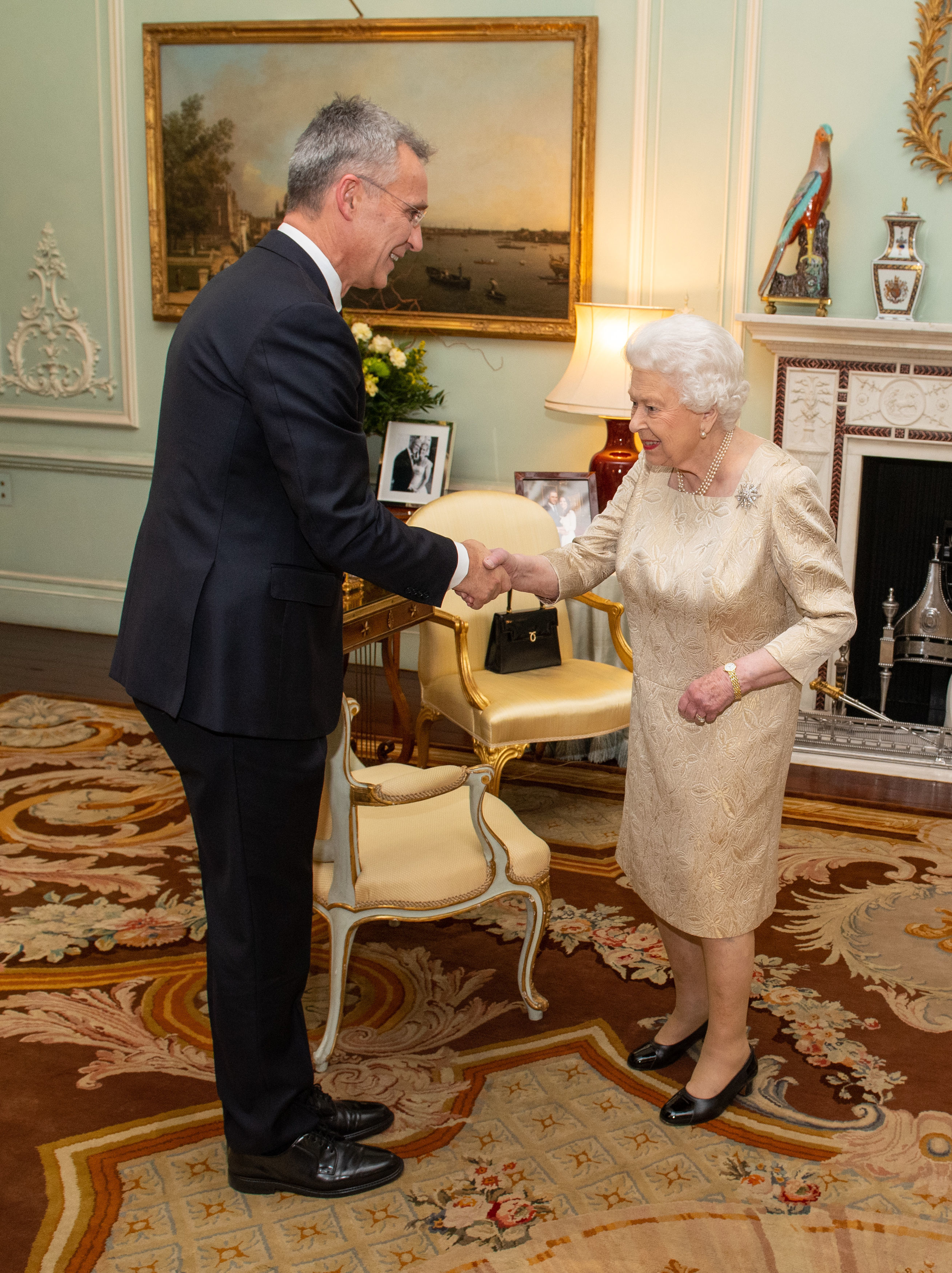 Queen Elizabeth II holds a private audience with Nato Secretary General Jens Stoltenberg in Buckingham Palace, London. PA Photo. Picture date: Tuesday December 3, 2019. Photo credit should read: Dominic Lipinski/PA Wire