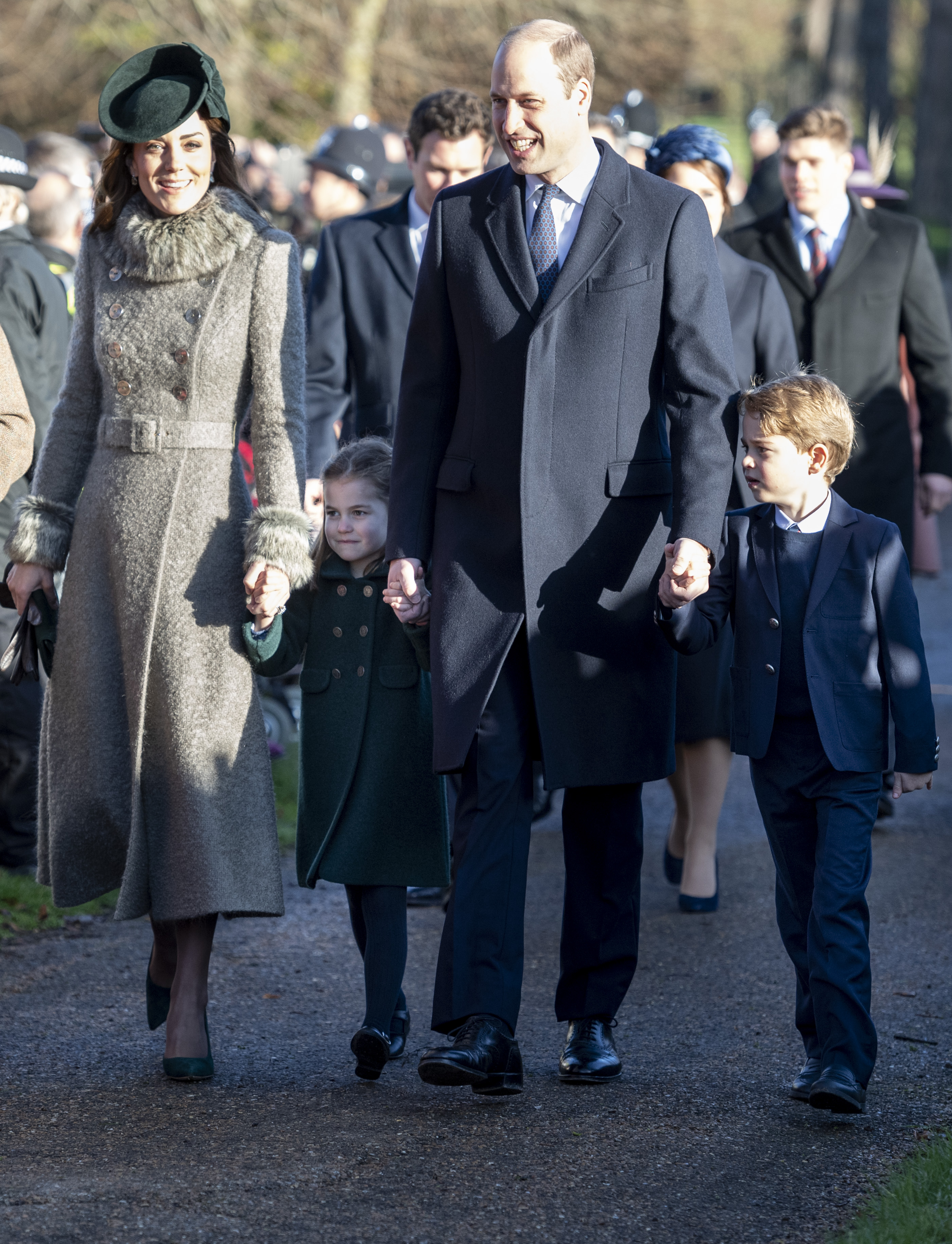 KING'S LYNN, ENGLAND - DECEMBER 25: Prince William, Duke of Cambridge and Catherine, Duchess of Cambridge with Prince George of Cambridge and Princess Charlotte of Cambridge attend the Christmas Day Church service at Church of St Mary Magdalene on the Sandringham estate on December 25, 2019 in King's Lynn, United Kingdom. (Photo by UK Press Pool/UK Press via Getty Images)