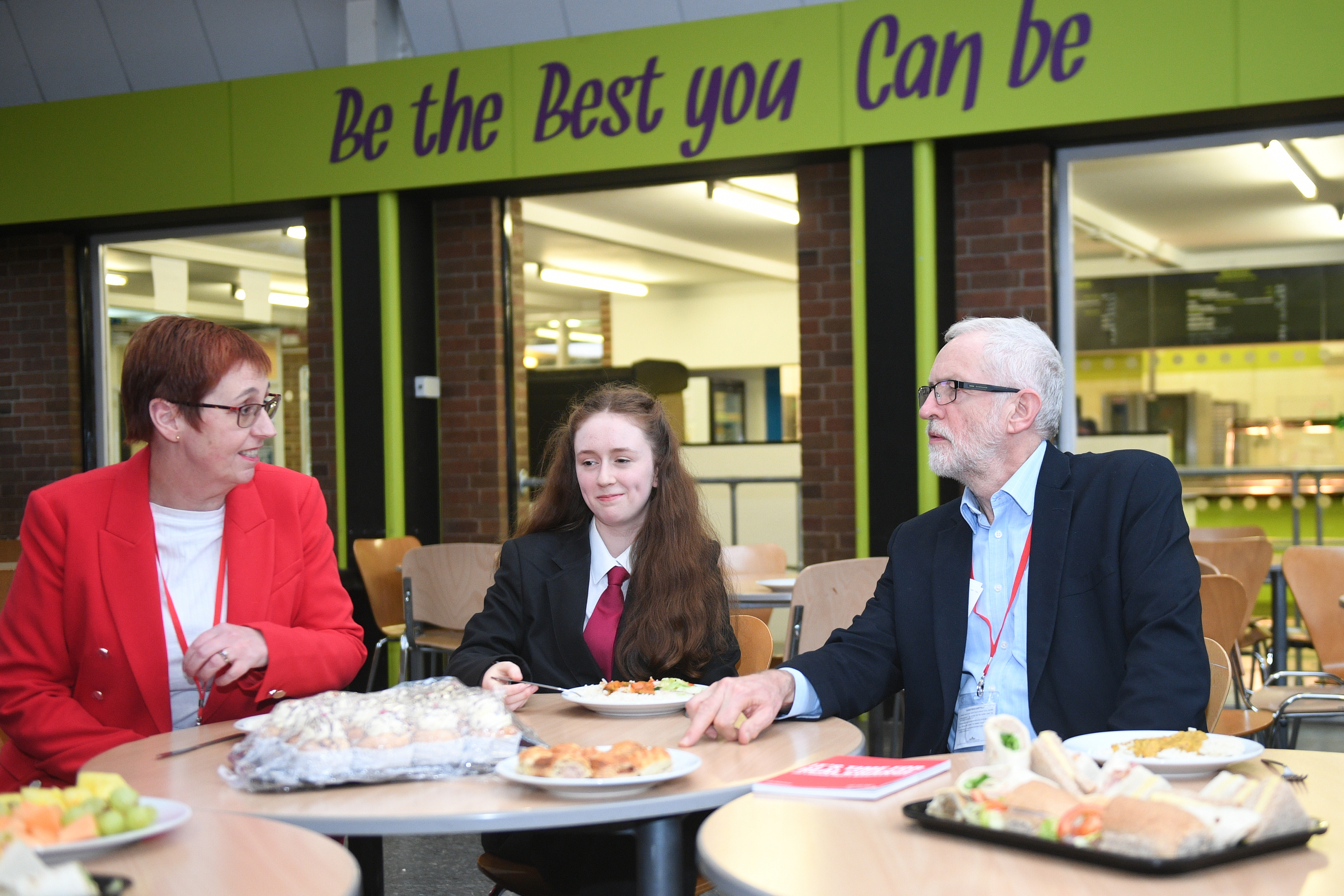 Labour leader Jeremy Corbyn joins students and teachers for a school dinner at Bilton High School in Rugby, while on the General Election campaign trail.