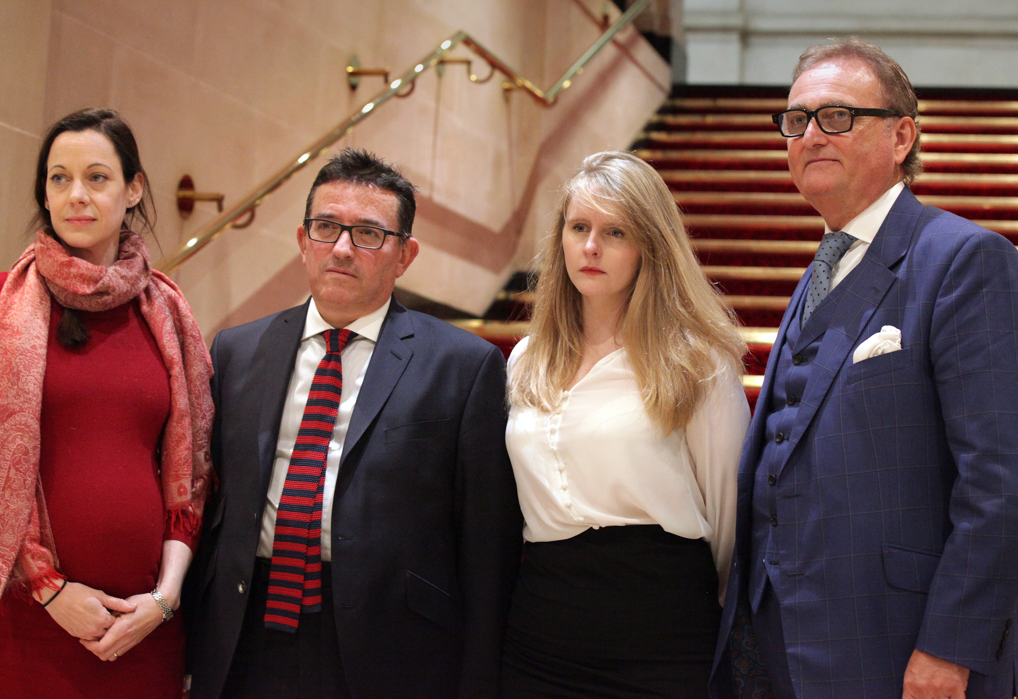 (left to right) Annunziata Rees-Mogg, Lance Anisfeld, Lucy Harris and John Longworth at a press conference in London, they have resigned the whip to back the Conservative Party in the upcoming General Election.