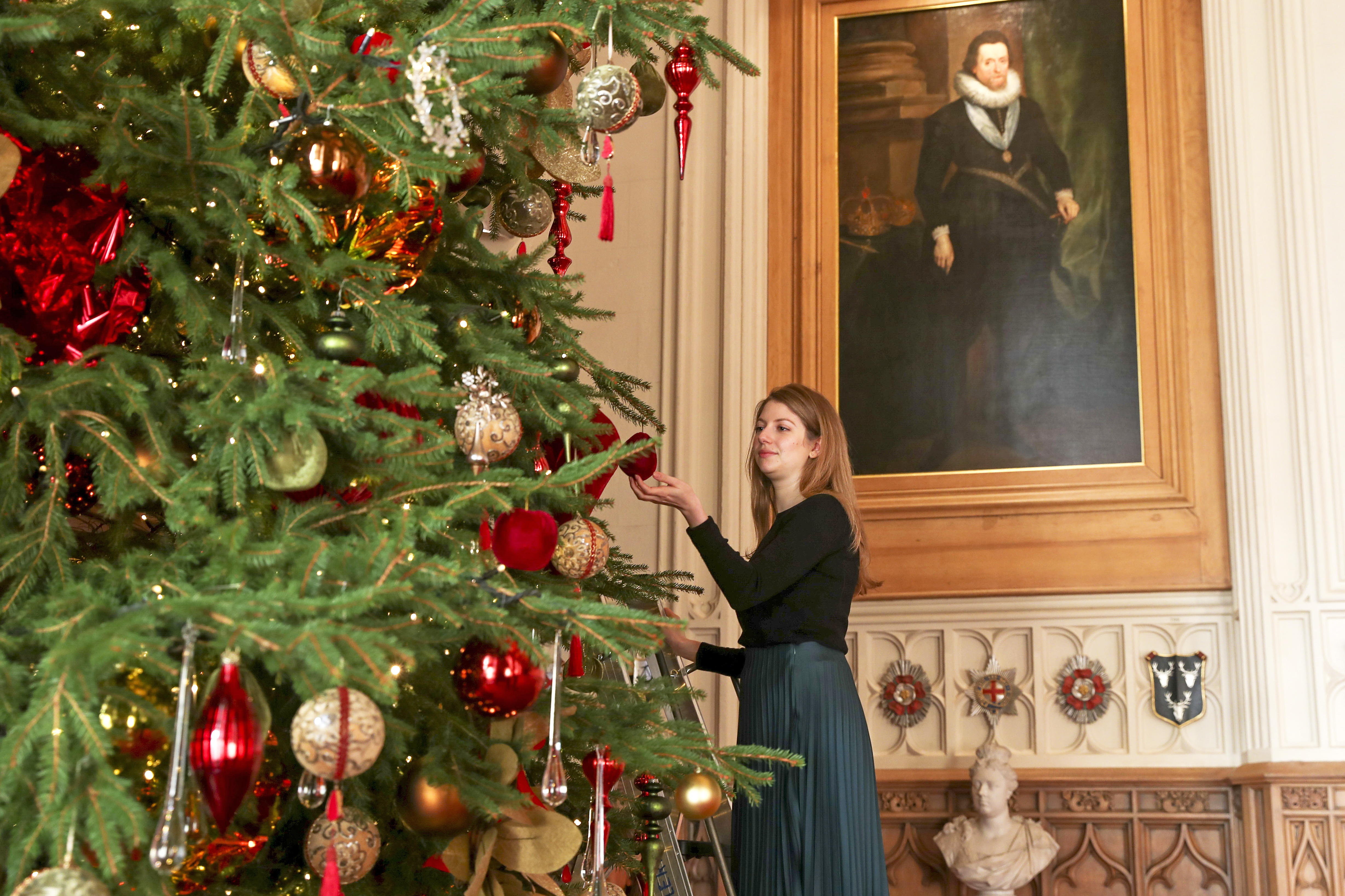 A Royal Collection Trust member of staff puts the finishing touches to a 20ft Nordmann fir tree, sourced from the Windsor Great Park, in St George's Hall at Windsor Castle, Berkshire. (Photo by Steve Parsons/PA Images via Getty Images)