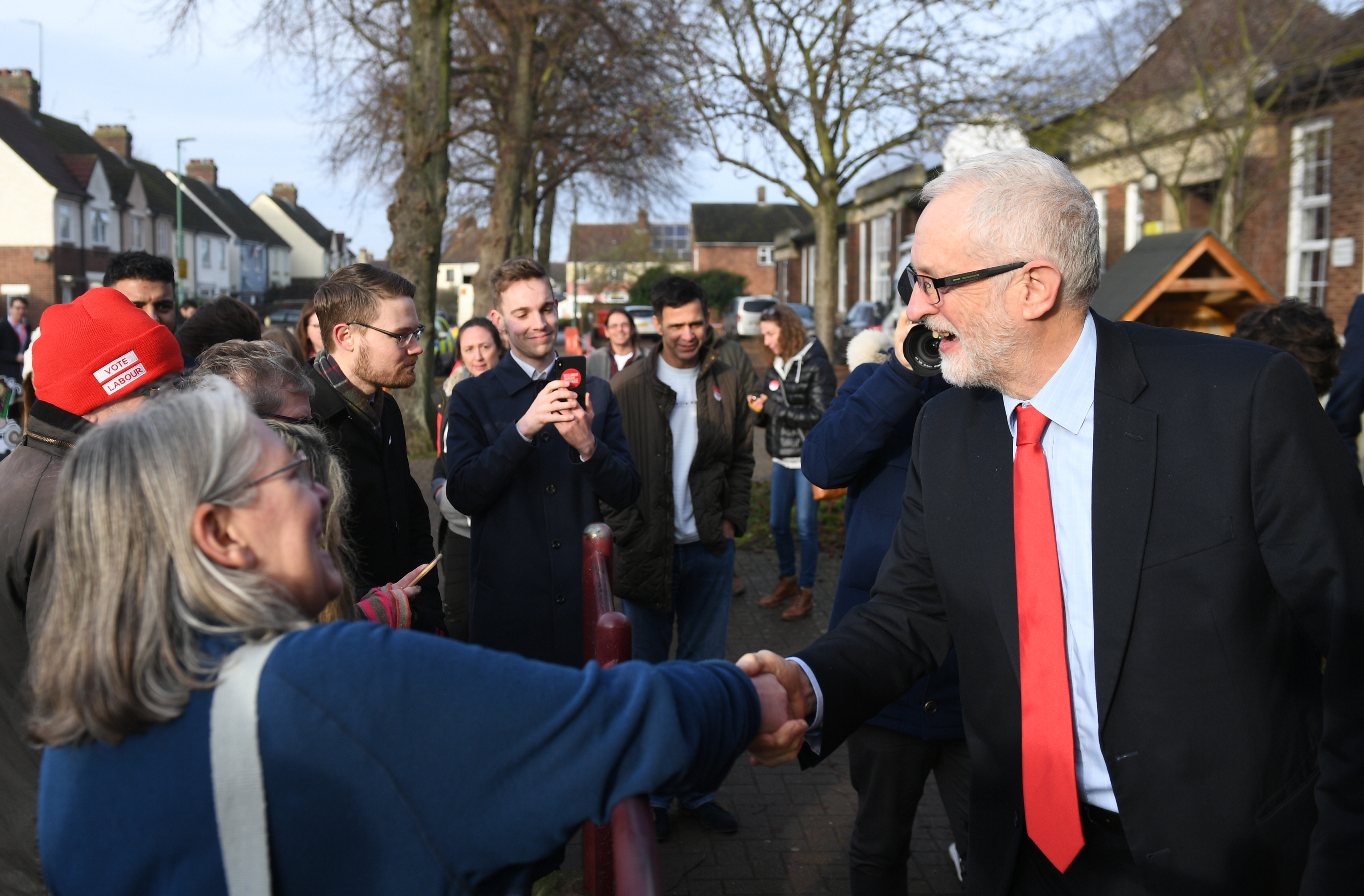 Labour leader Jeremy Corbyn after a visit to Fulbridge Academy in Peterborough, while on the General Election campaign trail.