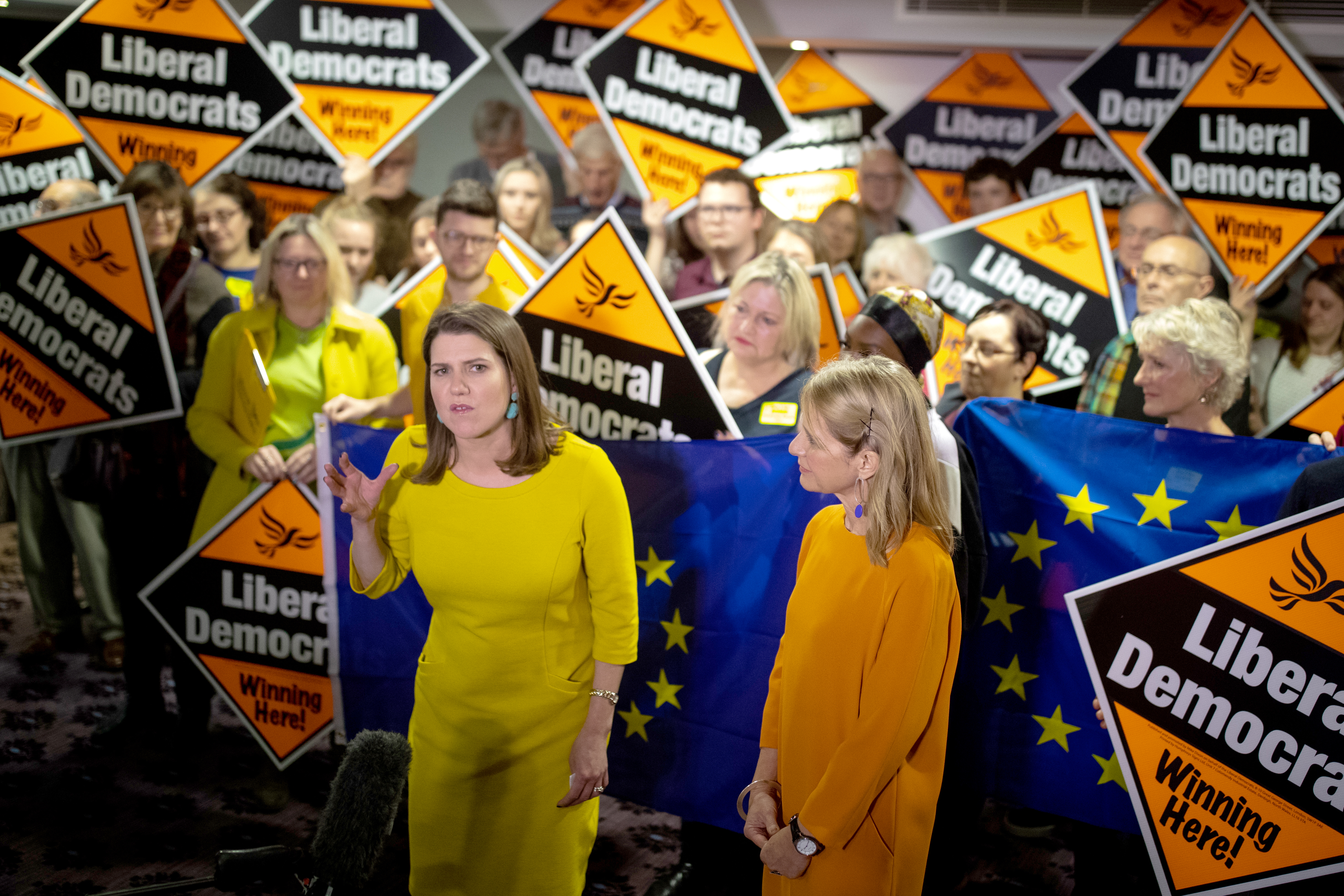 Liberal Democrat Leader Jo Swinson (centre left) speaks during a rally in Bath, while on the General Election campaign trail.
