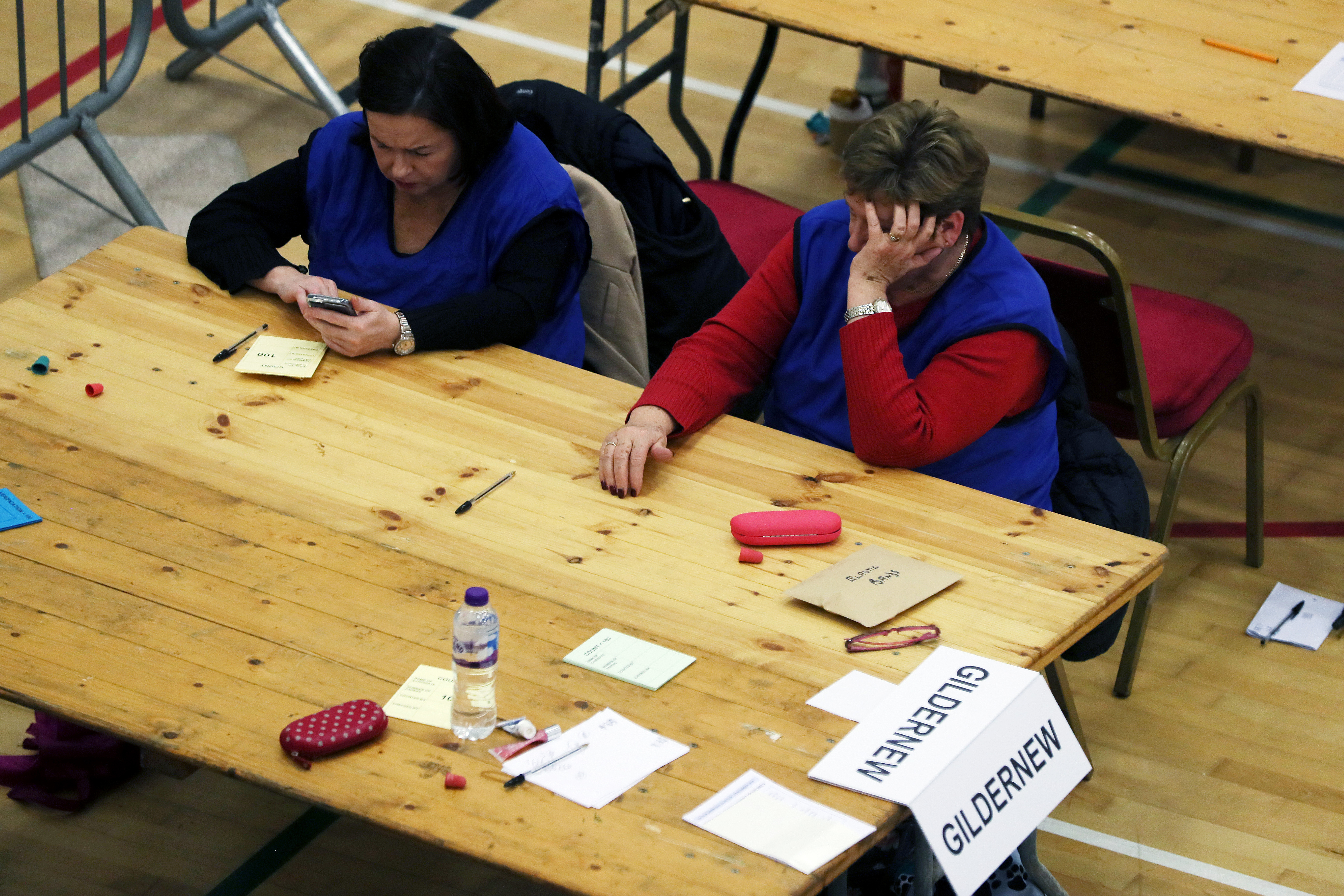 Count staff as a full recount for Fermanagh/South Tyrone at was announced at the Leisure Centre, in Omagh, Northern Ireland, as counting continues in the 2019 General Election.