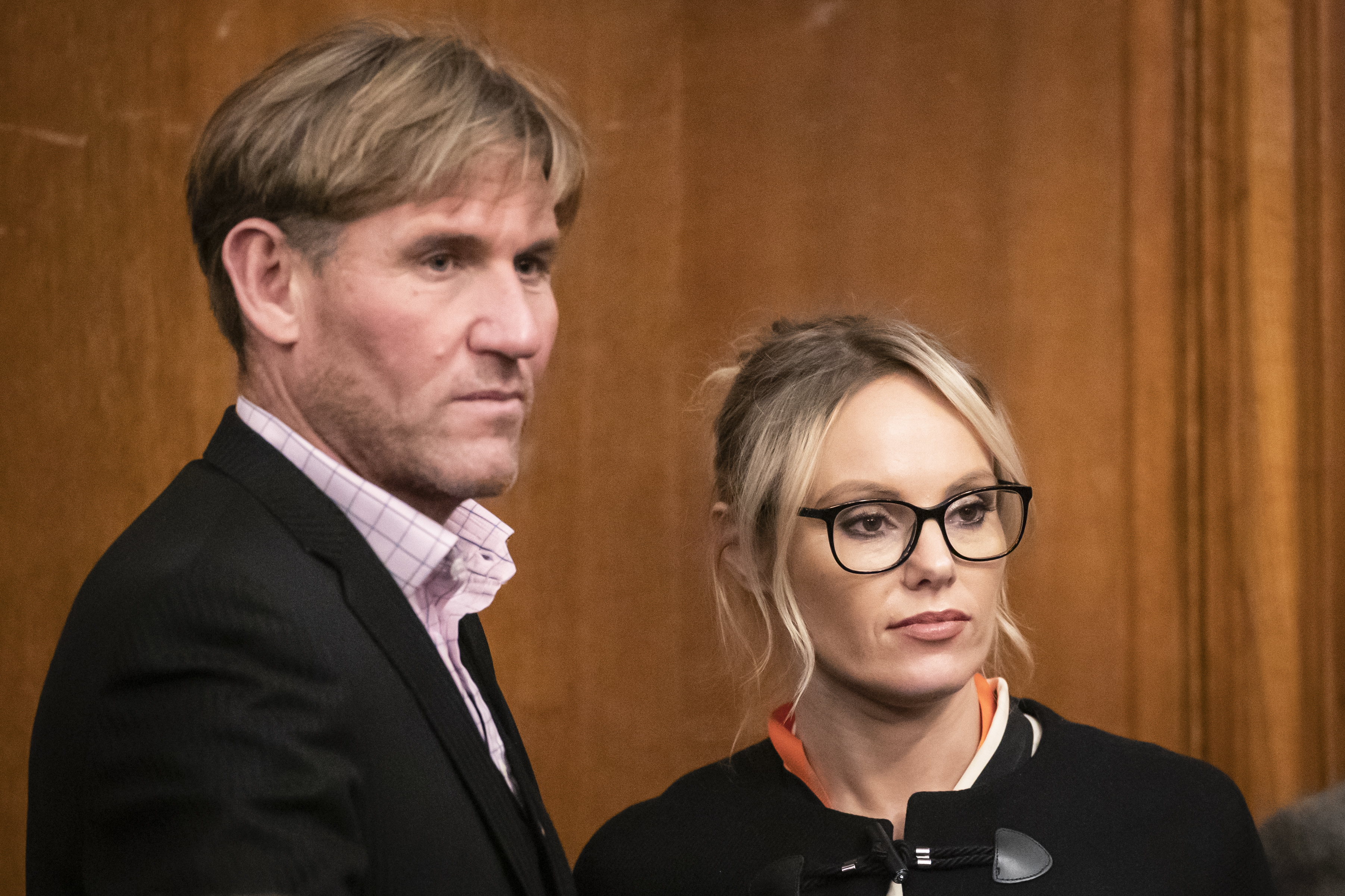 Michelle Dewberry, the former winner of The Apprentice and Brexit Party candidate for Hull West & Hessle, with former Crystal Palace owner Simon Jordan after she failed to win the Kingston upon Hull West & Hessle seat at the Guildhall in Hull in the 2019 General Election.