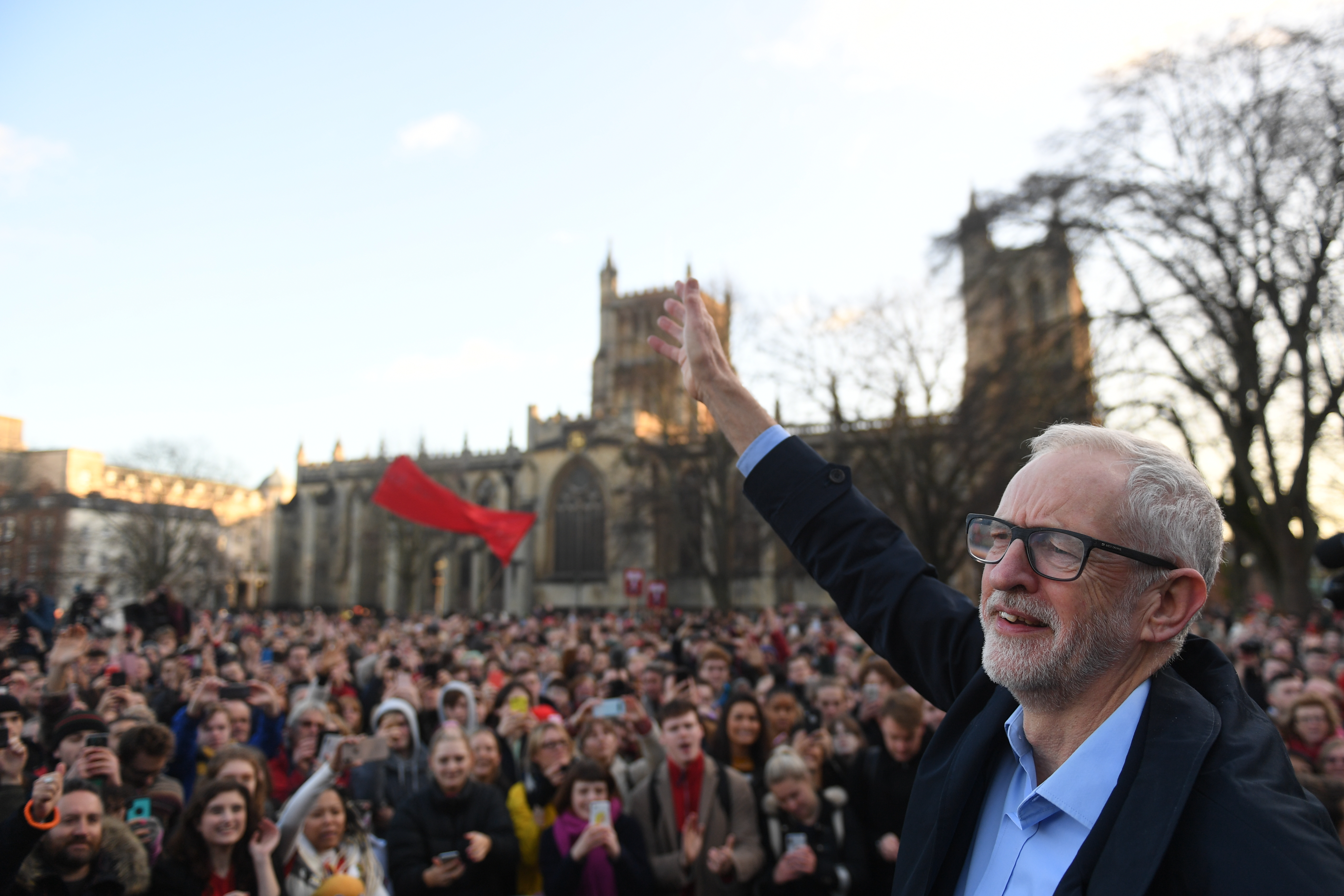 Labour Party leader Jeremy Corbyn waves to supporters after speaking at a rally outside Bristol City Council in Bristol, while on the General Election campaign trail. PA Photo. Picture date: Monday December 9, 2019. Photo credit should read: Joe Giddens/PA Wire