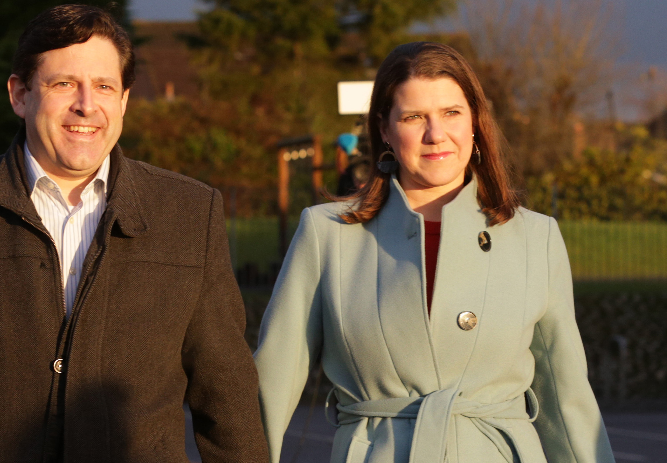 BEARSDEN, UNITED KINGDOM - DECEMBER 12: Liberal Democrat Leader Jo Swinson and her husband Duncan Hames arrive to vote at Castlehill Primary School on December 12, 2019 in Bearsden, near Glasgow, Scotland. The current Conservative Prime Minister Boris Johnson called the first UK winter election for nearly a century in an attempt to gain a working majority to break the parliamentary deadlock over Brexit. The election results from across the country are being counted overnight and an overall result is expected in the early hours of Friday morning.  (Photo by David Cheskin/Getty Images)
