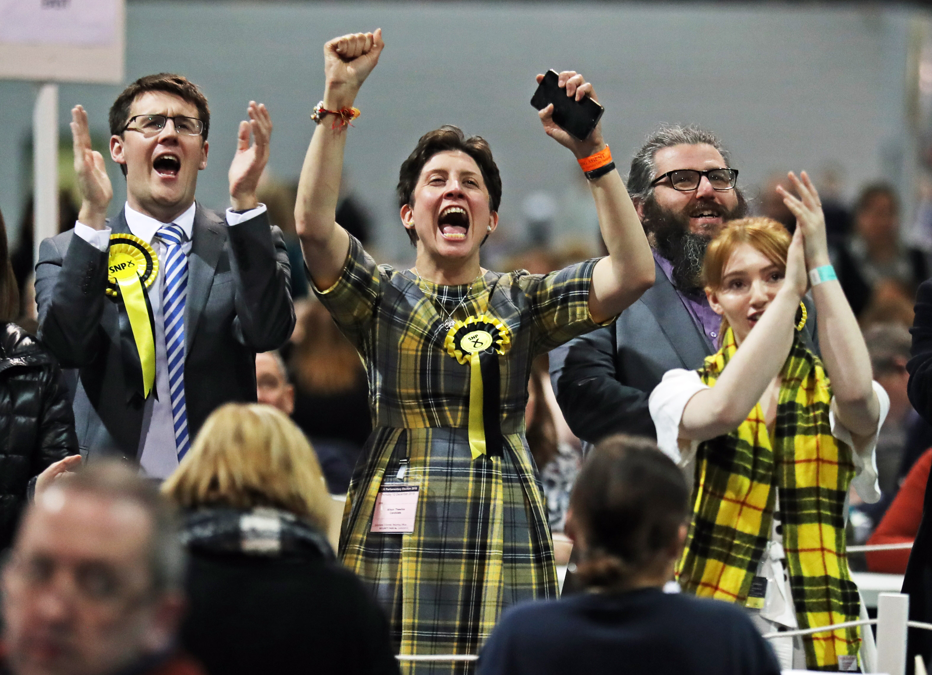 The SNP's Alison Thewliss (centre) celebrates a victory for her party in the 2019 General Election during the count at SEC Centre in Glasgow. (Photo by Andrew Milligan/PA Images via Getty Images)