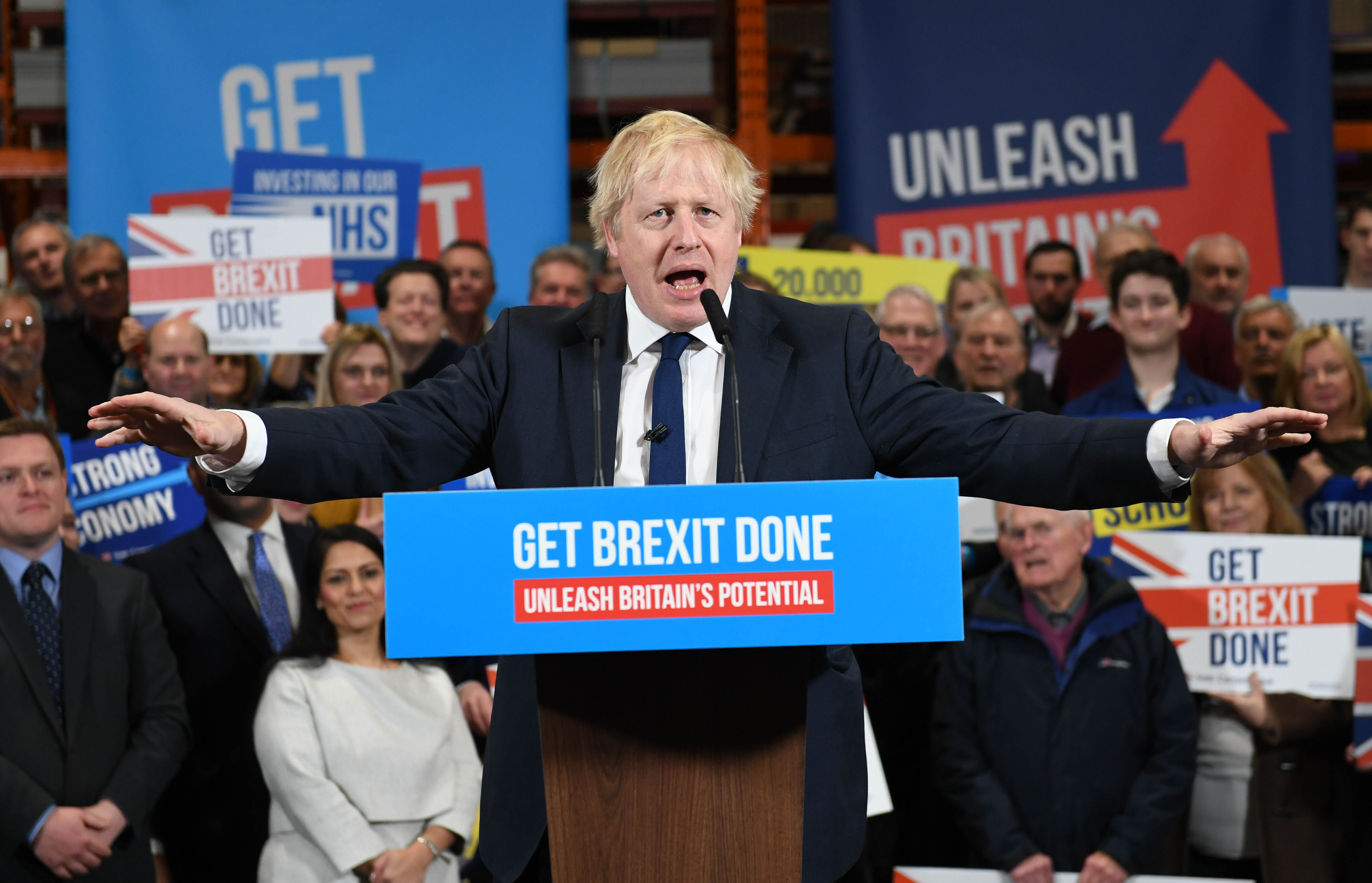 Prime Minister Boris Johnson speaks to members during a rally held at property marketing agency, Think BDW, Colchester, while on the General Election campaign trail.