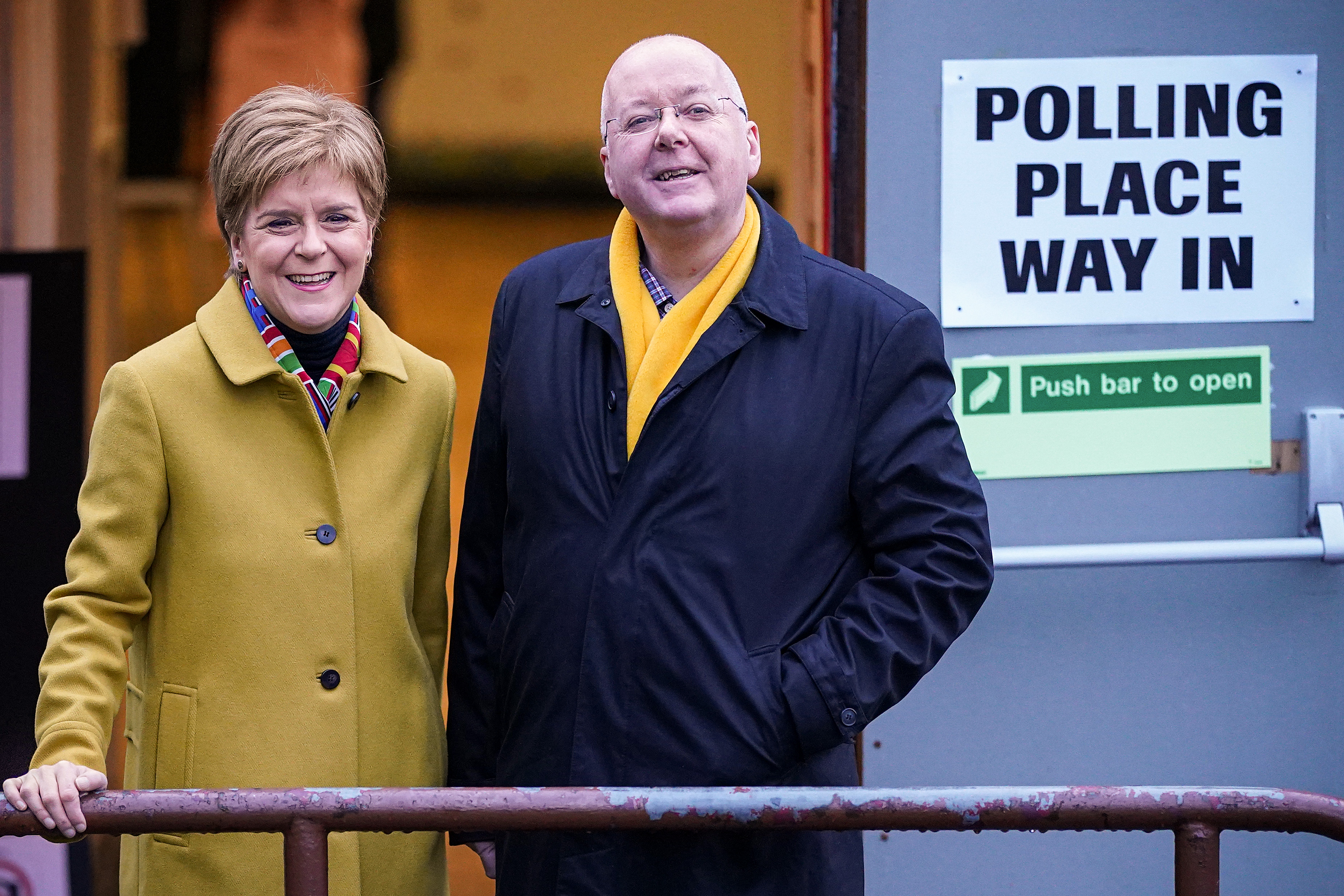 GLASGOW, UNITED KINGDOM - DECEMBER 12: First Minister of Scotland and leader of the SNP Nicola Sturgeon votes with her husband Peter Murrell at Broomhouse Community Hall in Ballieston on December 2019, in Glasgow, Scotland. The current Conservative Prime Minister Boris Johnson called the first UK winter election for nearly a century in an attempt to gain a working majority to break the parliamentary deadlock over Brexit. The election results from across the country are being counted overnight and an overall result is expected in the early hours of Friday morning. (Photo by Jeff J Mitchell/Getty Images)