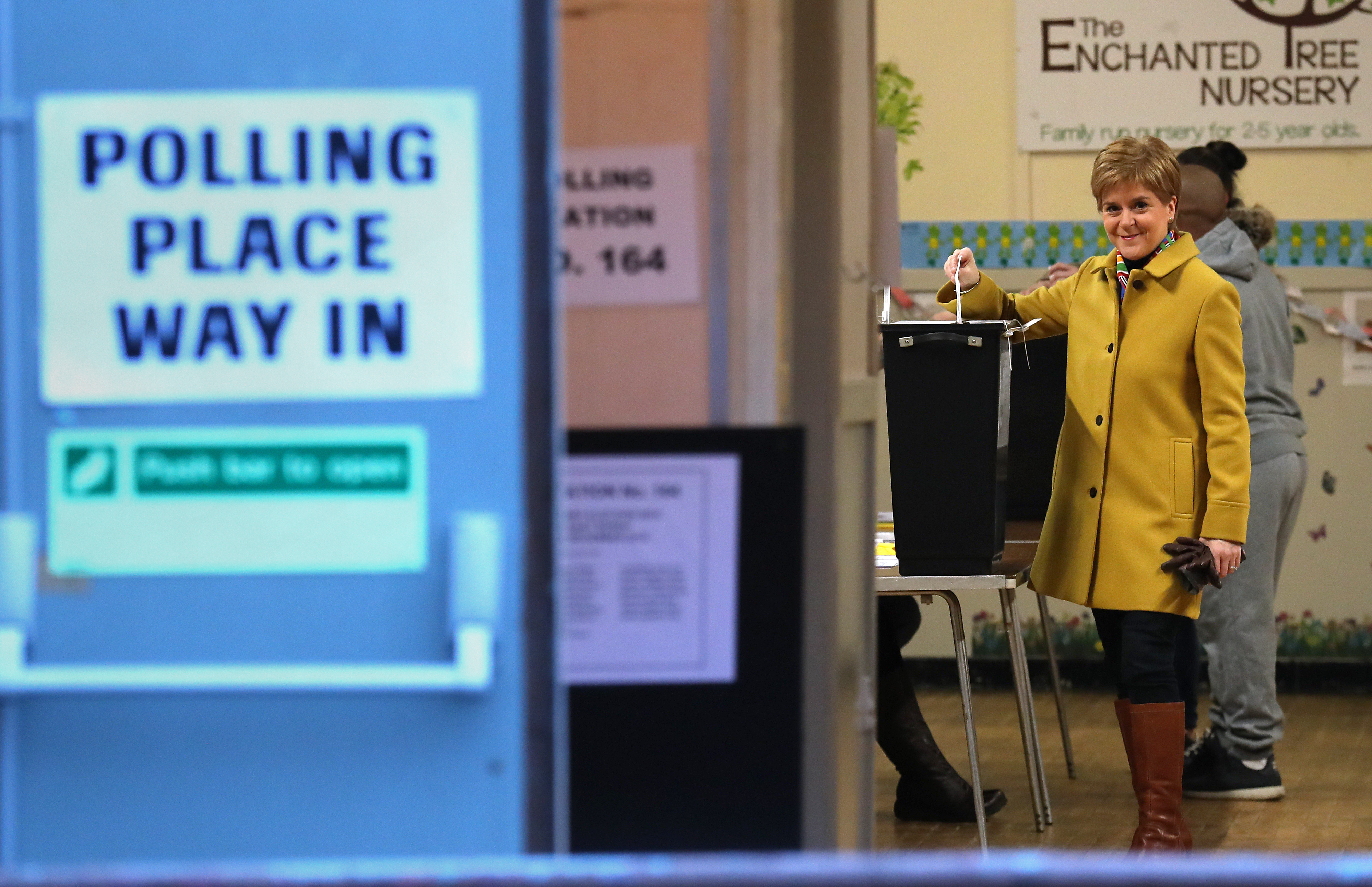 SNP leader Nicola Sturgeon casts her vote in the 2019 General Election at Broomhouse Park Community Hall in Glasgow. (Photo by Andrew Milligan/PA Images via Getty Images)