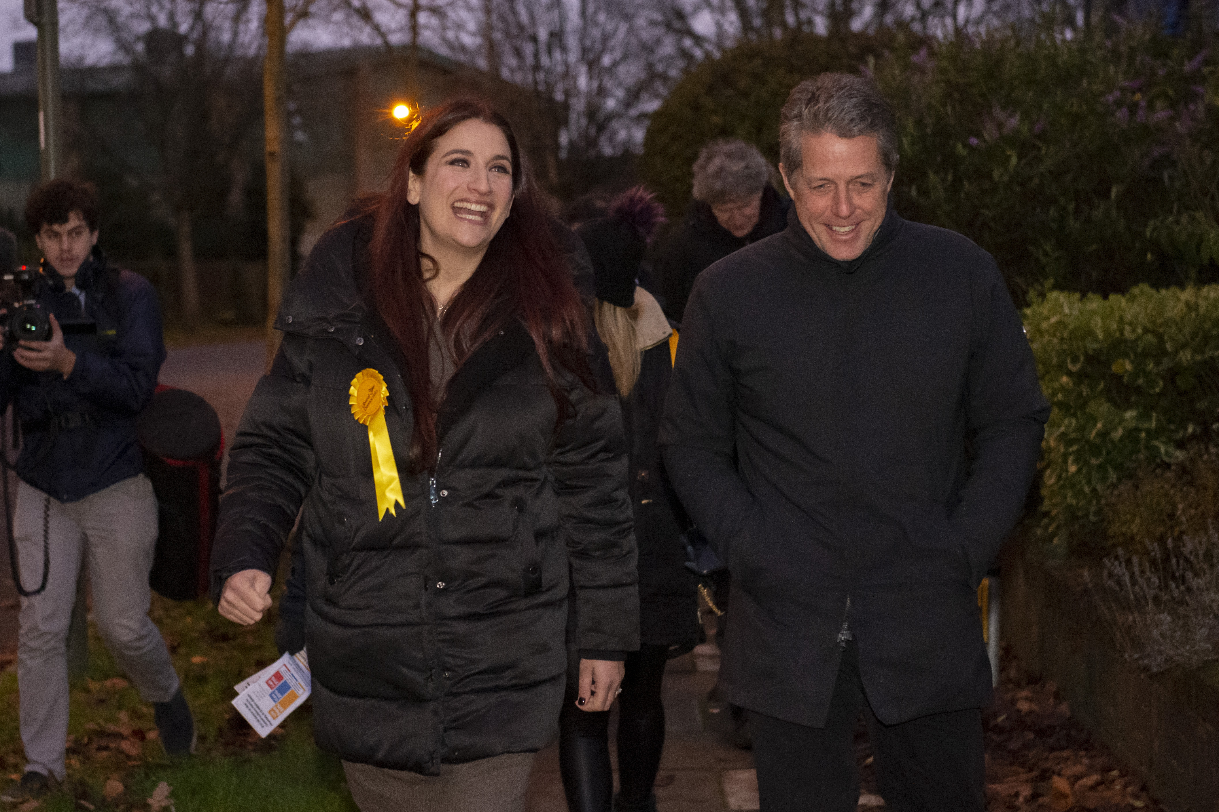 Liberal Democrat's candidate for Finchley and Golders Green, Luciana Berger and Hugh Grant canvassing in Finchley while on the General Election campaign trail.