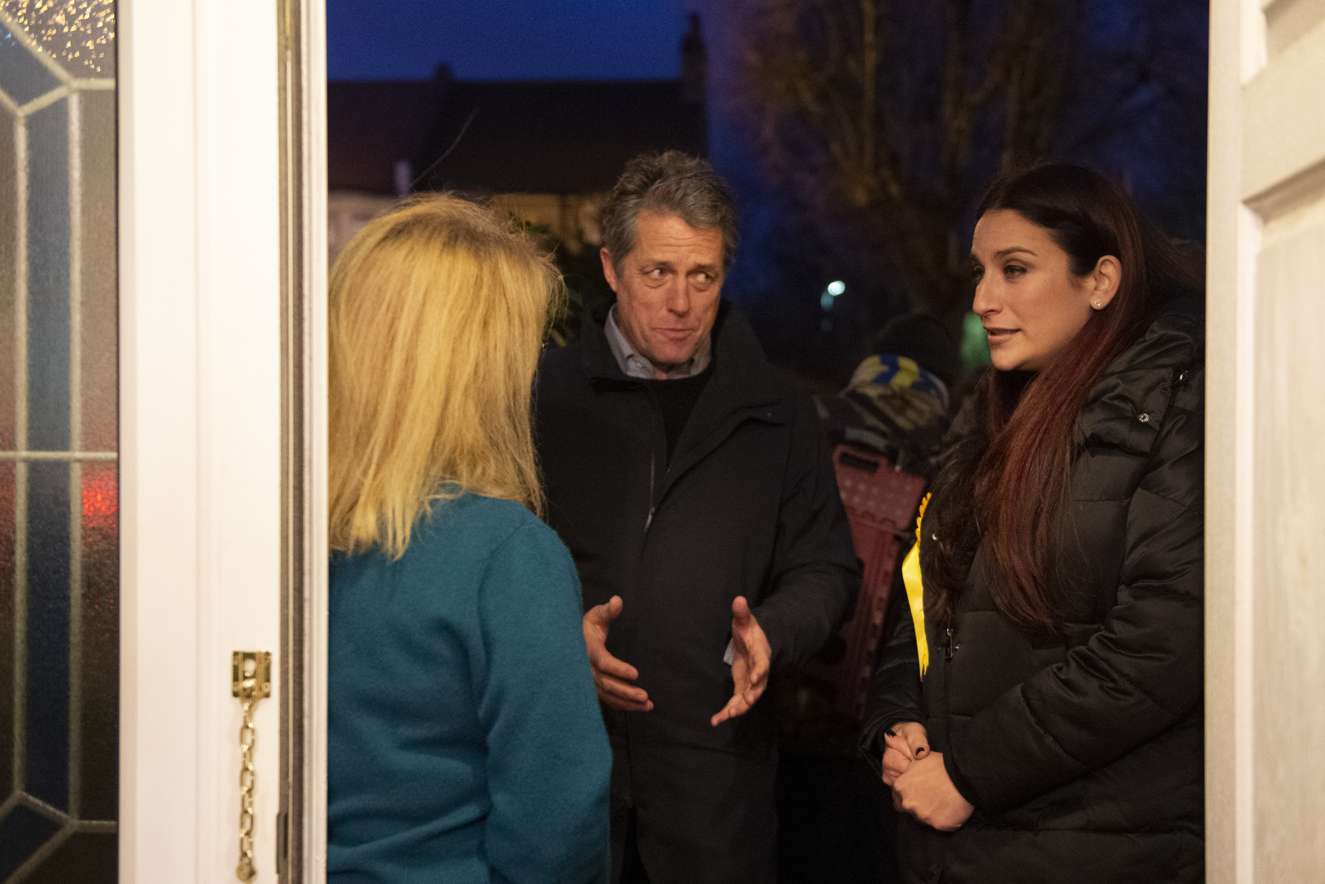 (right) Liberal Democrat's candidate for Finchley and Golders Green, Luciana Berger and Hugh Grant canvassing in Finchley while on the General Election campaign trail.