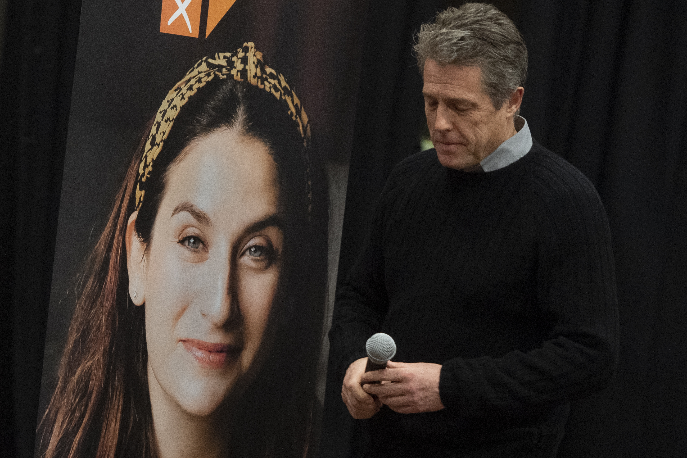 Hugh Grant during a Liberal Democrat's canvassing event in Finchley while on the General Election campaign trail. PA Photo. Picture date: Sunday December 1, 2019. See PA story POLITICS Election. Photo credit should read: David Mirzoeff/PA Wire