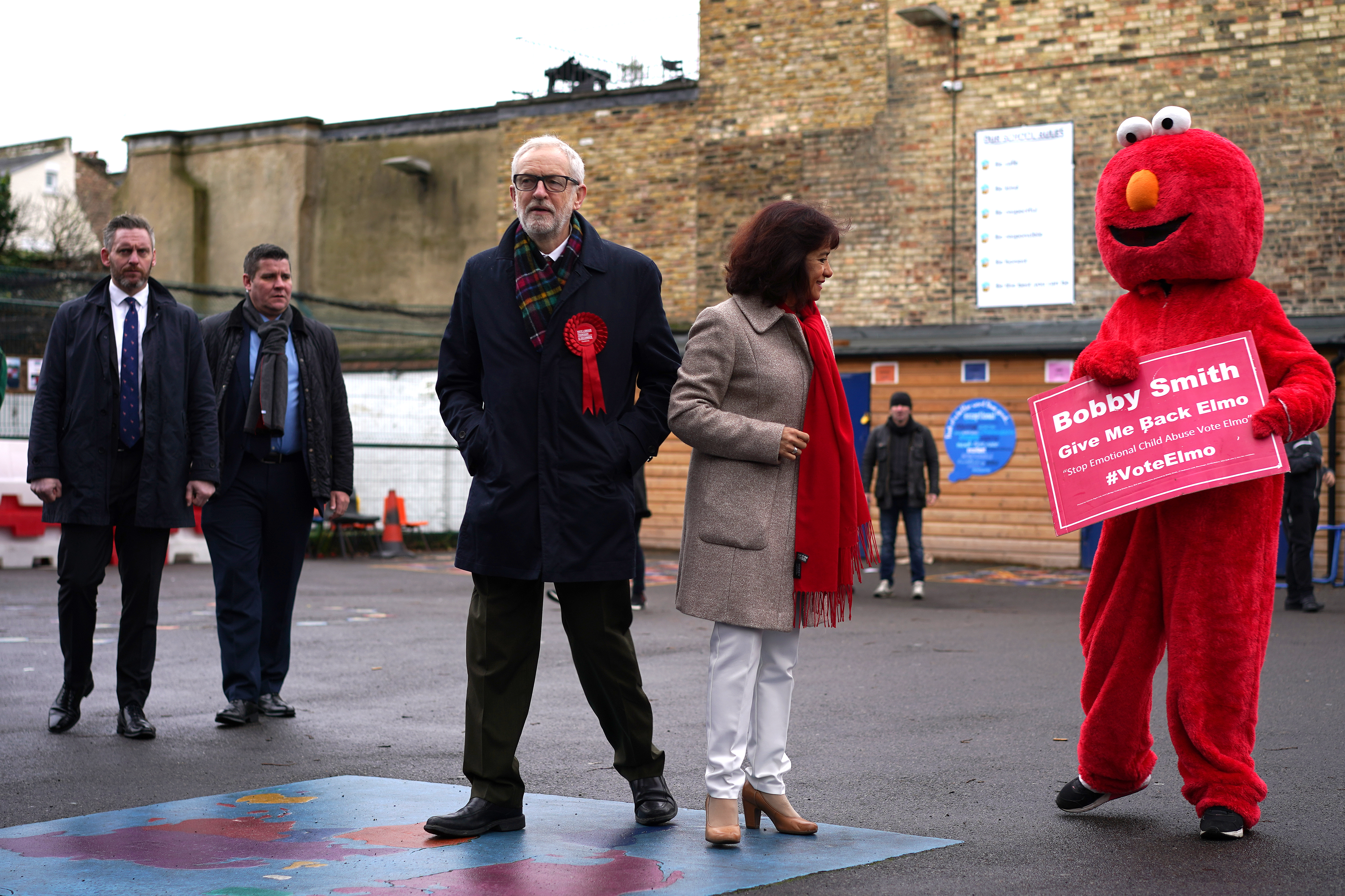 LONDON, UNITED KINGDOM - DECEMBER 12:  Labour leader Jeremy Corbyn and his wife Laura Alvarez outside the polling station at Pakeman Primary School, Holloway on December 12, 2019 in London, England.  The current Conservative Prime Minister Boris Johnson called the first UK winter election for nearly a century in an attempt to gain a working majority to break the parliamentary deadlock over Brexit. The election results from across the country will be counted overnight and an overall result is expected in the early hours of Friday morning.  (Photo by Peter Summers/Getty Images)