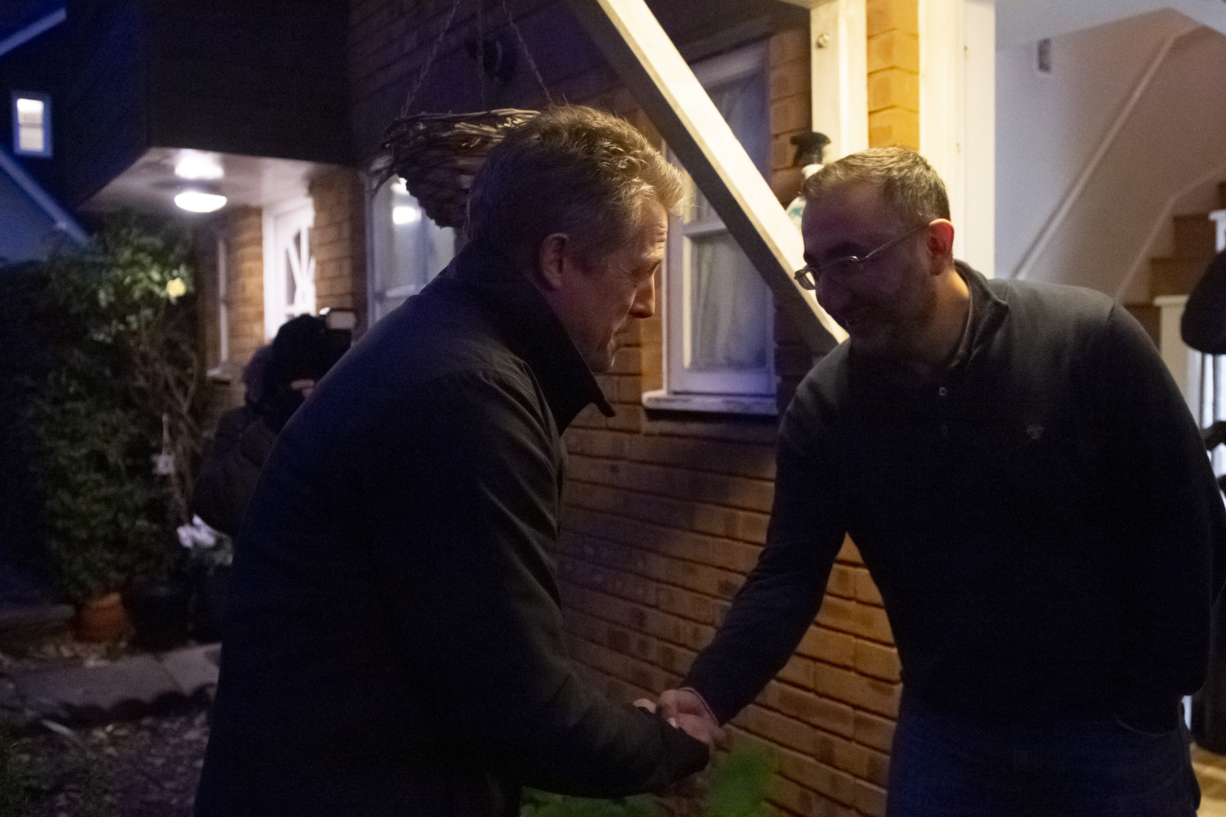 Hugh Grant canvassing for the Liberal Democrat's party in Finchley while on the General Election campaign trail.