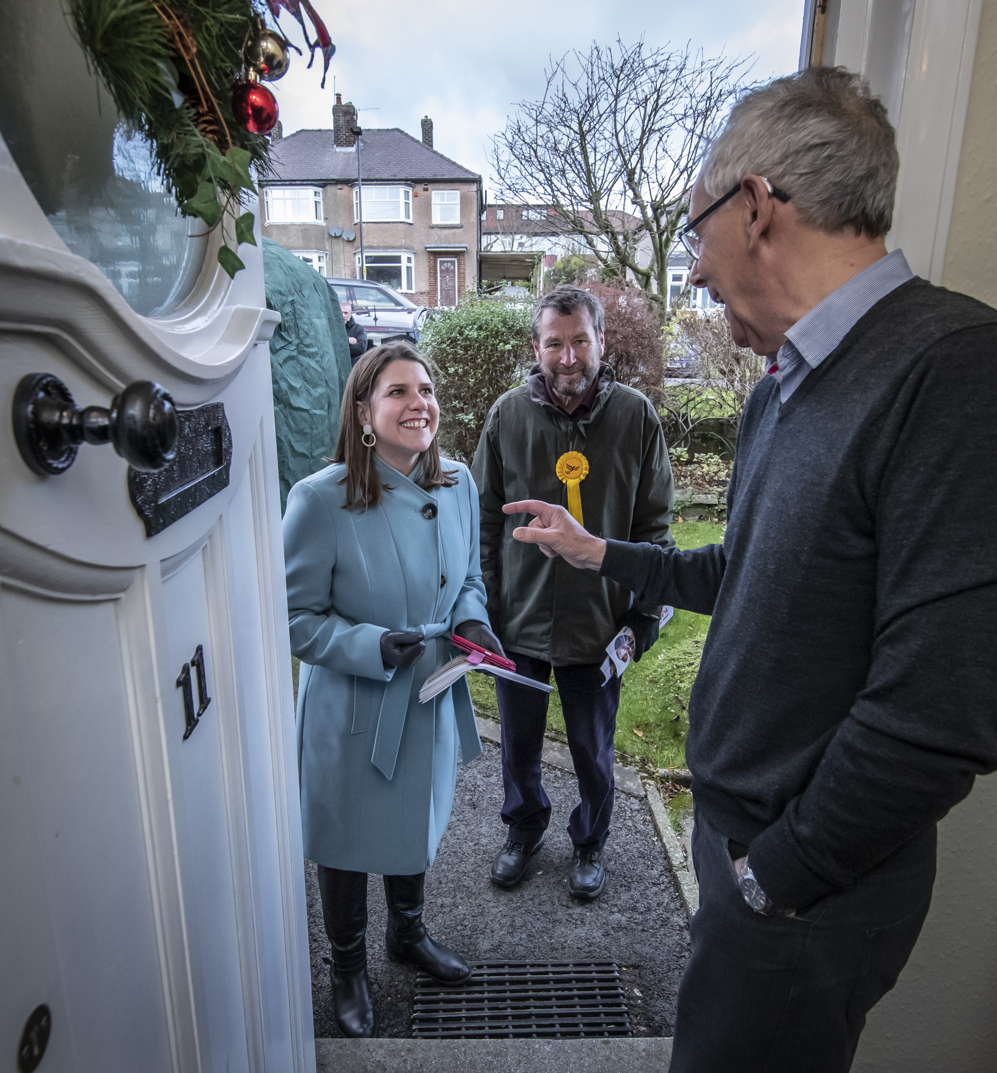 Liberal Democrat Leader Jo Swinson canvassing door to door with Liberal Democrat parliamentary candidate for Sheffield Central Colin Ross (centre) during a visit to Sheffield, while on the General Election campaign trail.