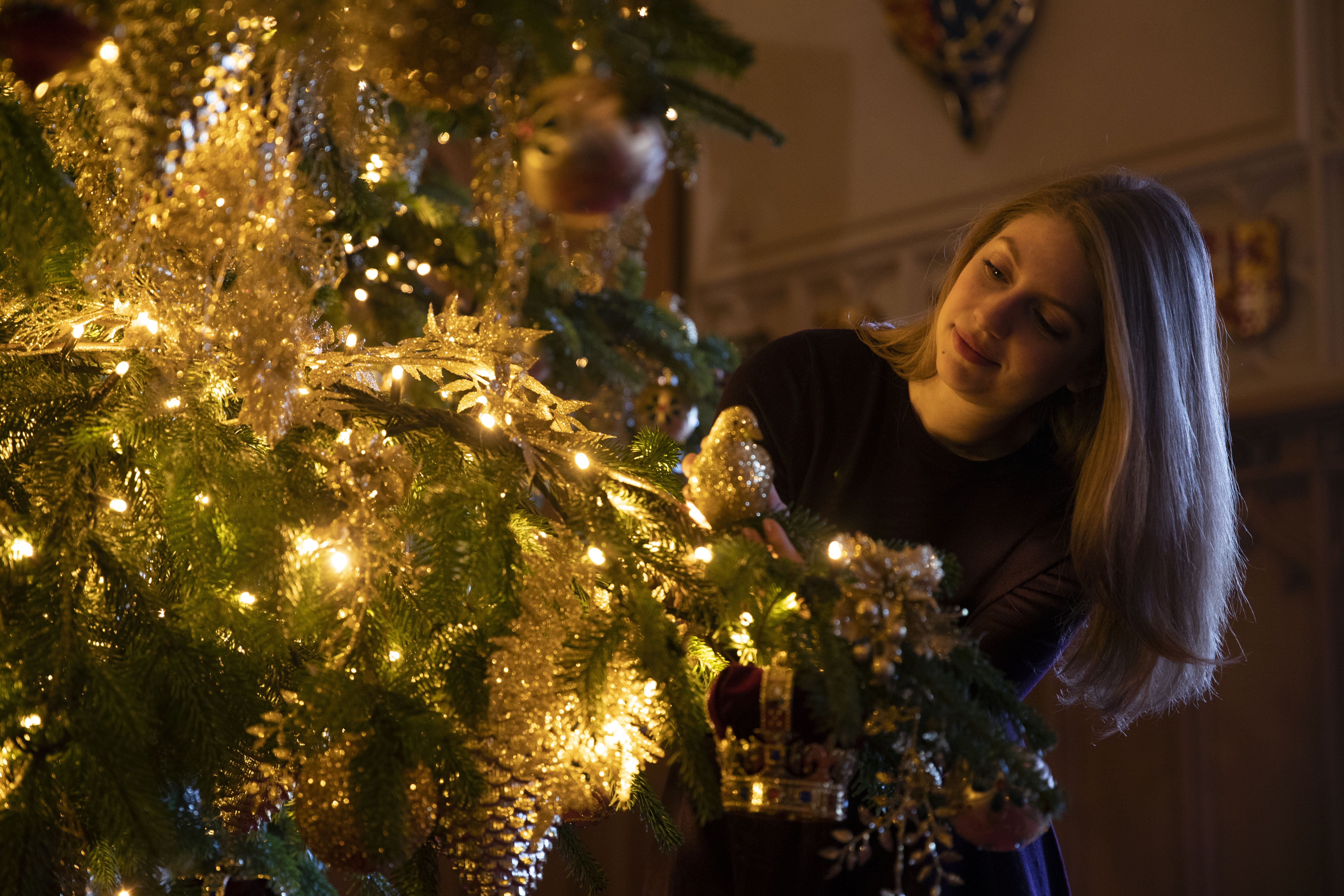 A Royal Collection Trust member of staff makes the final preparations to a 20ft Norman Fir Christmas tree in St George's Hall at Windsor Castle, Berkshire, which is being decorated for Christmas. (Photo by Steve Parsons/PA Images via Getty Images)