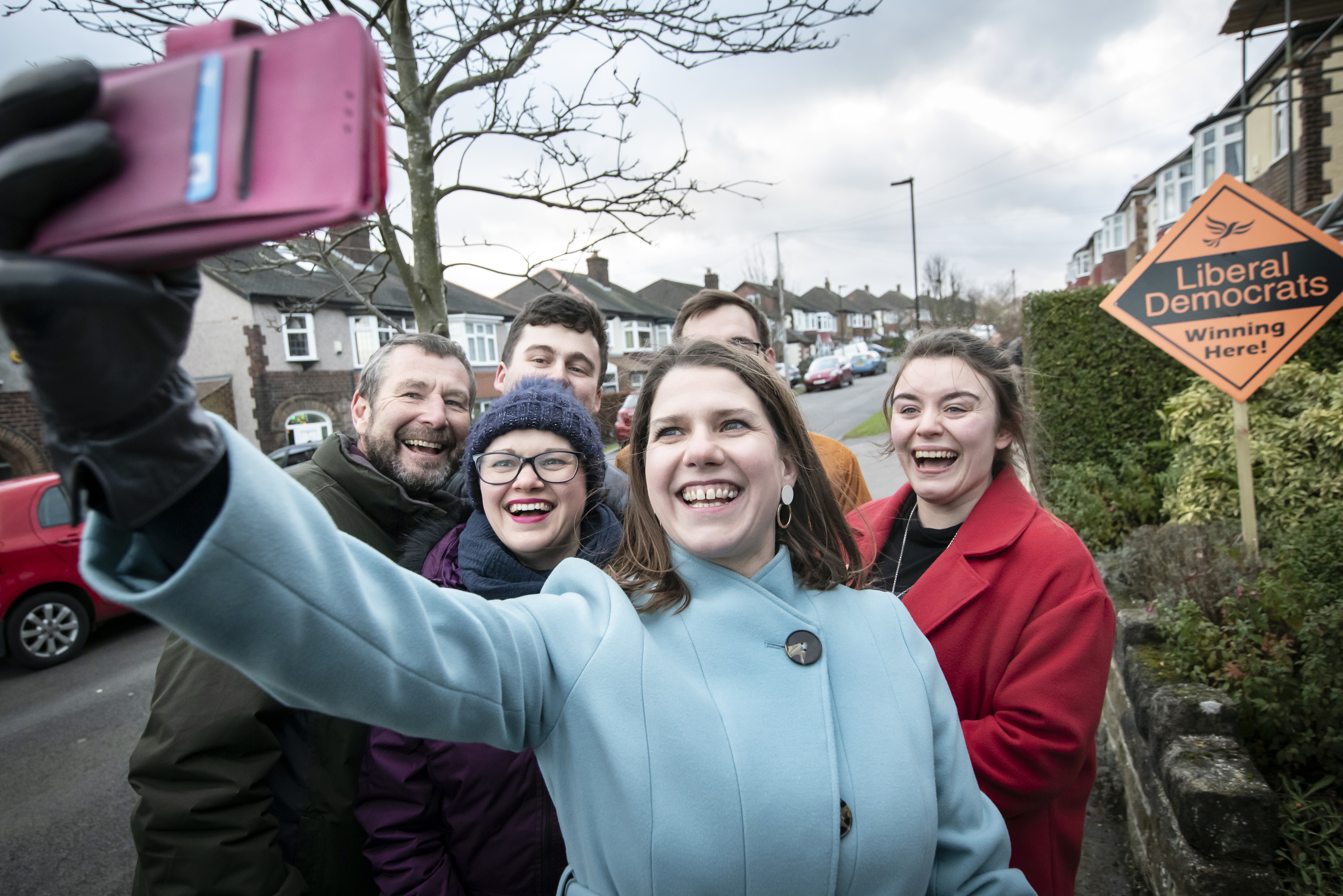 Liberal Democrat Leader Jo Swinson canvassing door to door with activists during a visit to Sheffield, while on the General Election campaign trail.