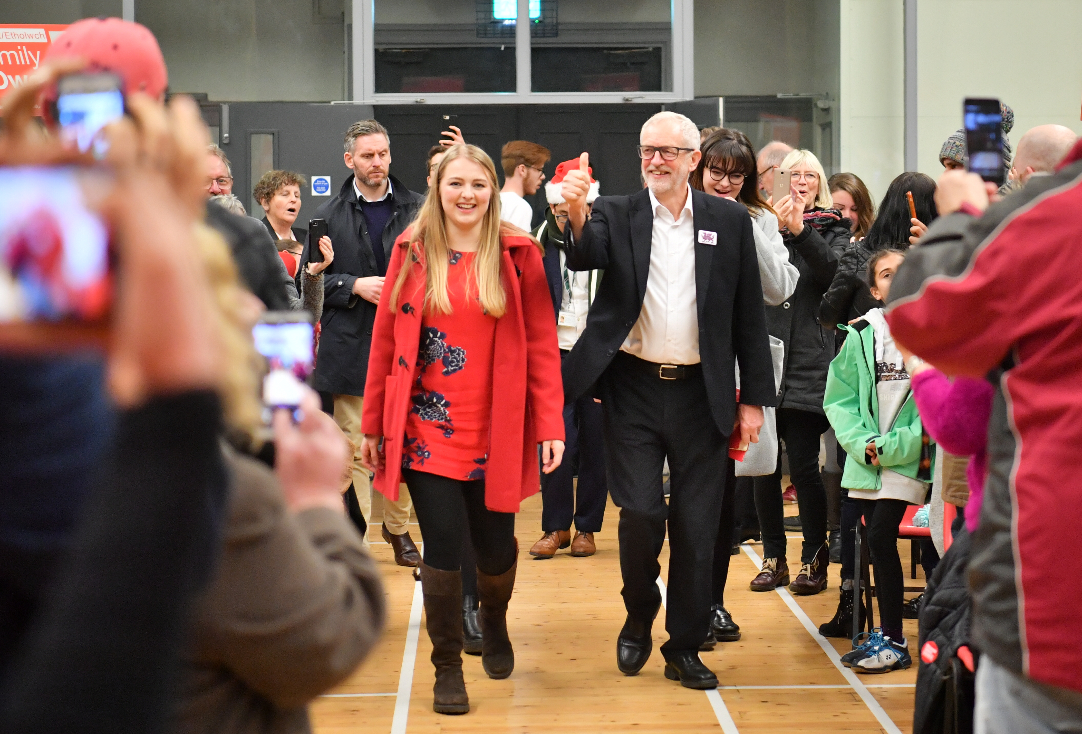 Labour Leader Jeremy Corbyn, with his party's Parliamentary candidate for Aberconwy Emily Owen, meeting supporters during a visit to Llanfairfechan Town Hall near Aberconwy, while on the General Election campaign trail in Wales.