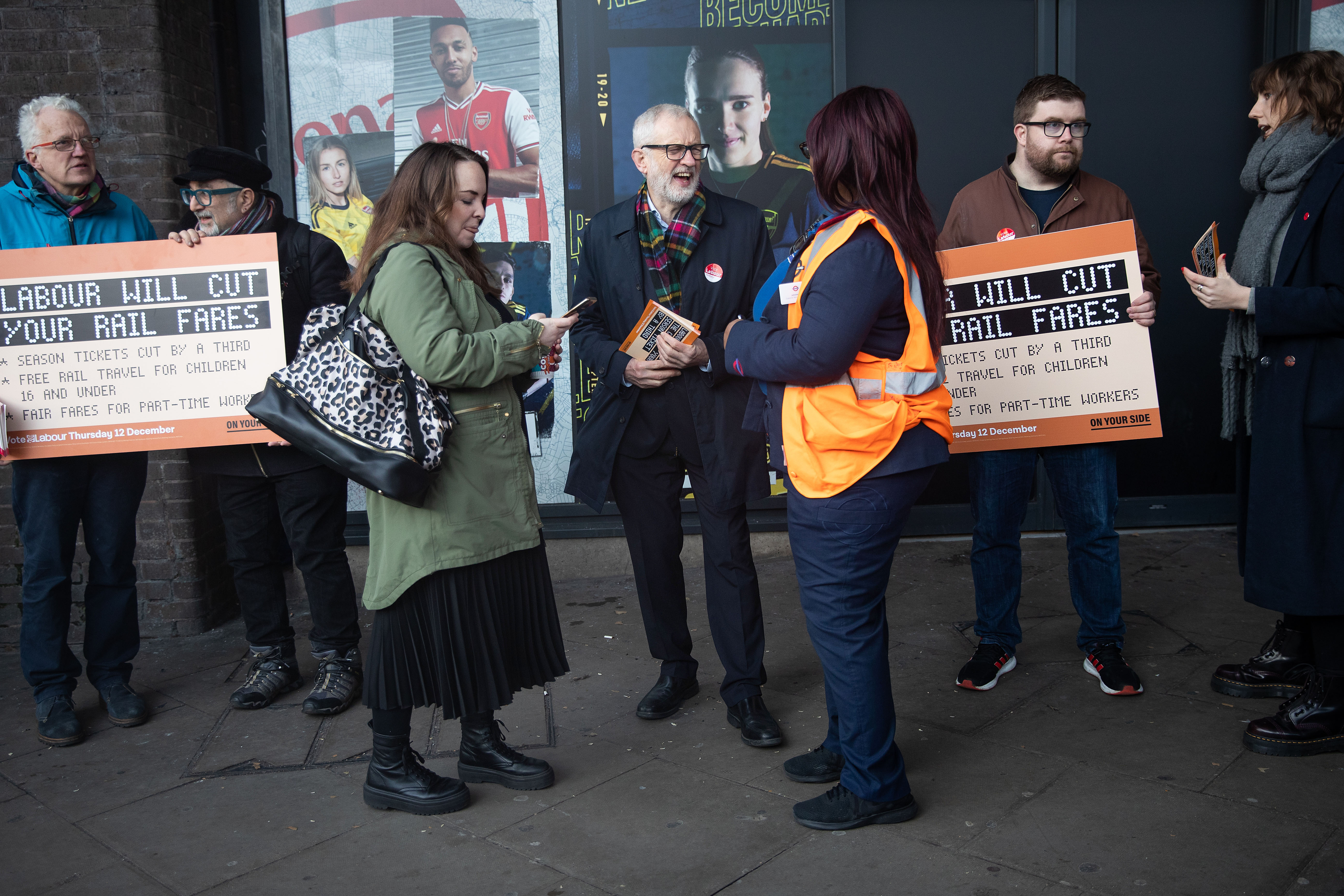 Labour leader, Jeremy Corbyn (centre) leafleting outside Finsbury Park station, London, whilst on the General Election campaign trail.