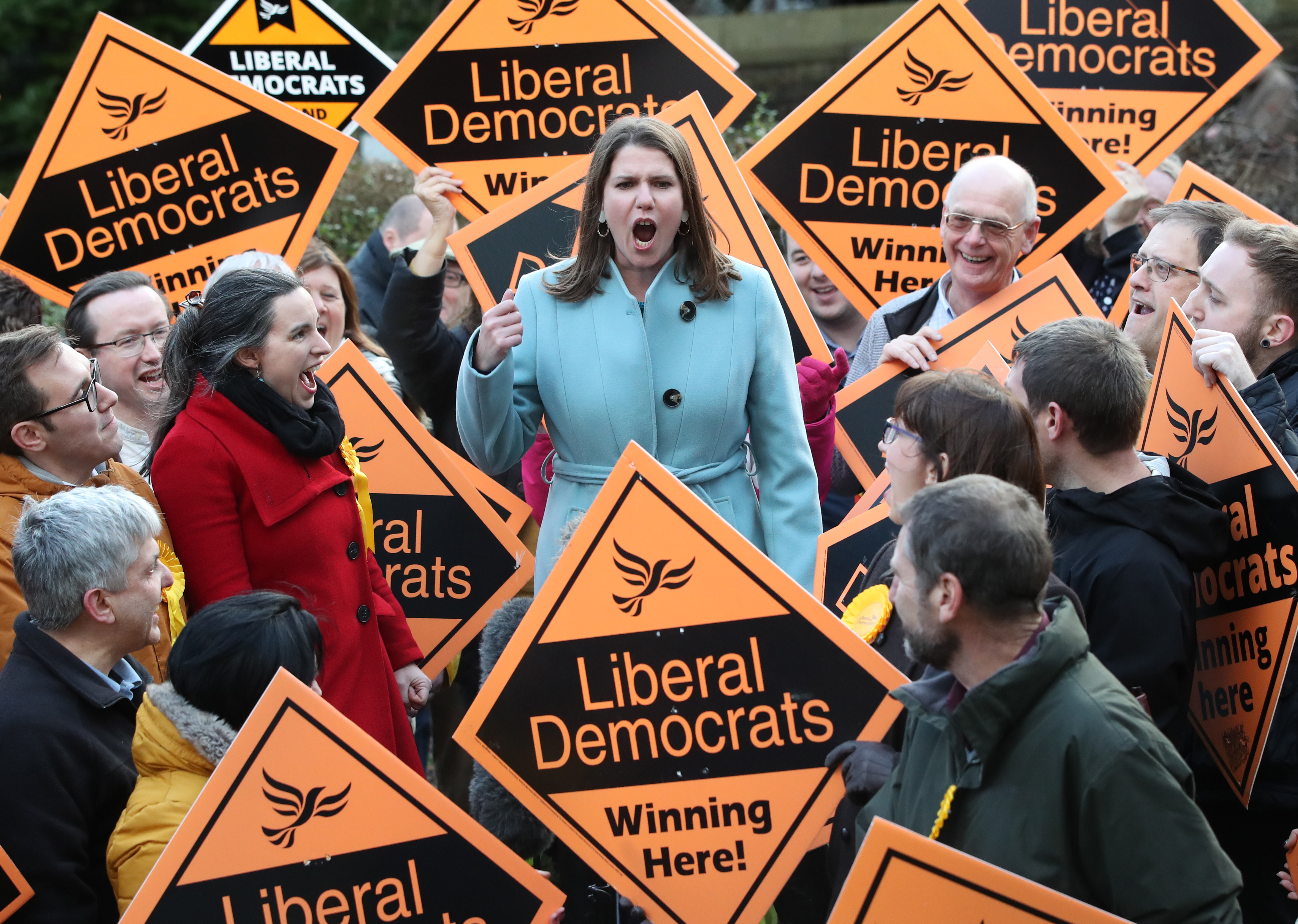 Liberal Democrat Leader Jo Swinson meets supports during a visit to Sheffield, while on the General Election campaign.