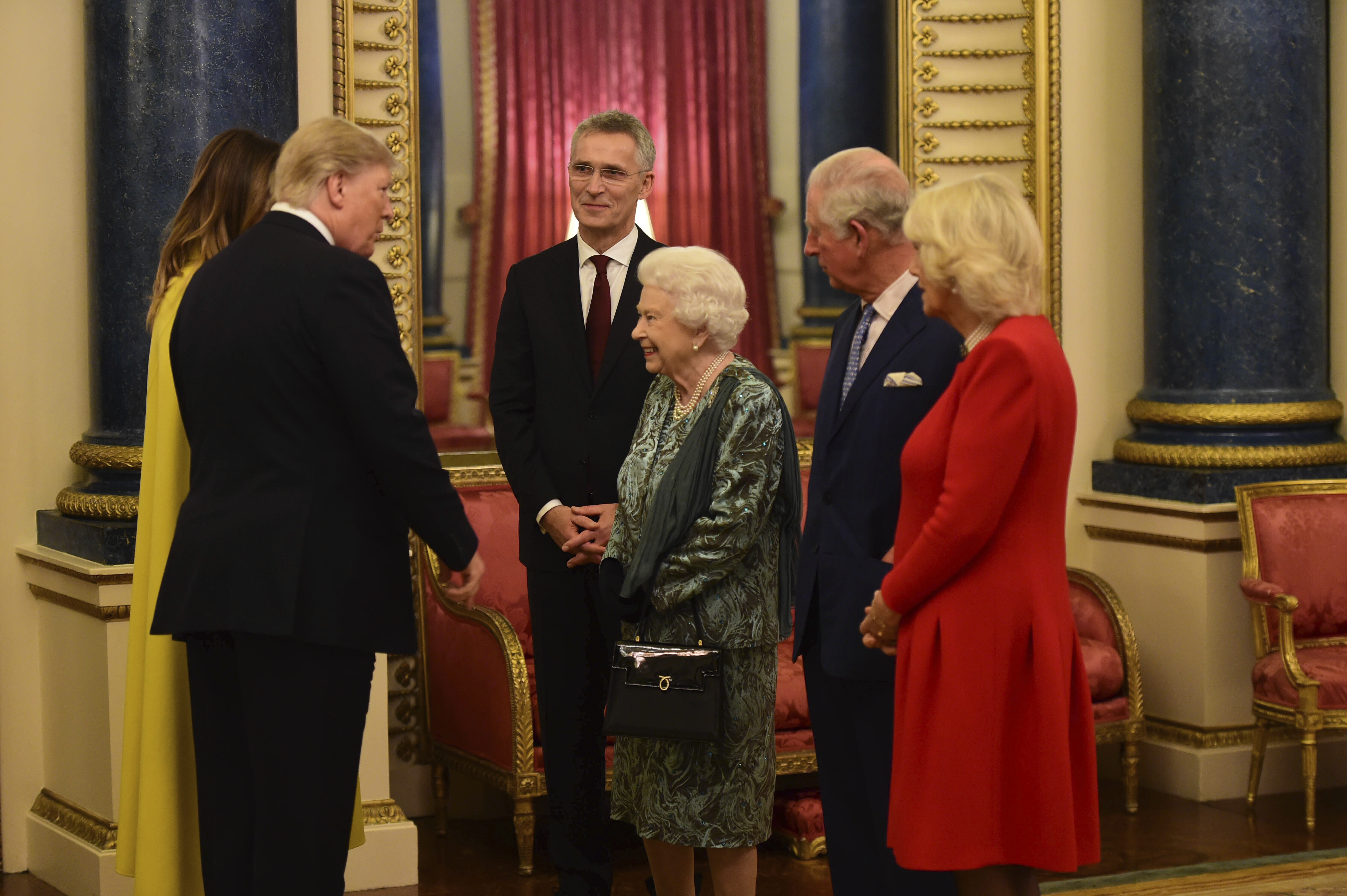 Photo by: KGC-512/STAR MAX/IPx 2019 12/3/19 The Queen, accompanied by other Members of the Royal Family, hosts a reception for NATO leaders, spouses or partners, and delegations, at Buckingham Palace, London, UK, on the 3rd December 2019.