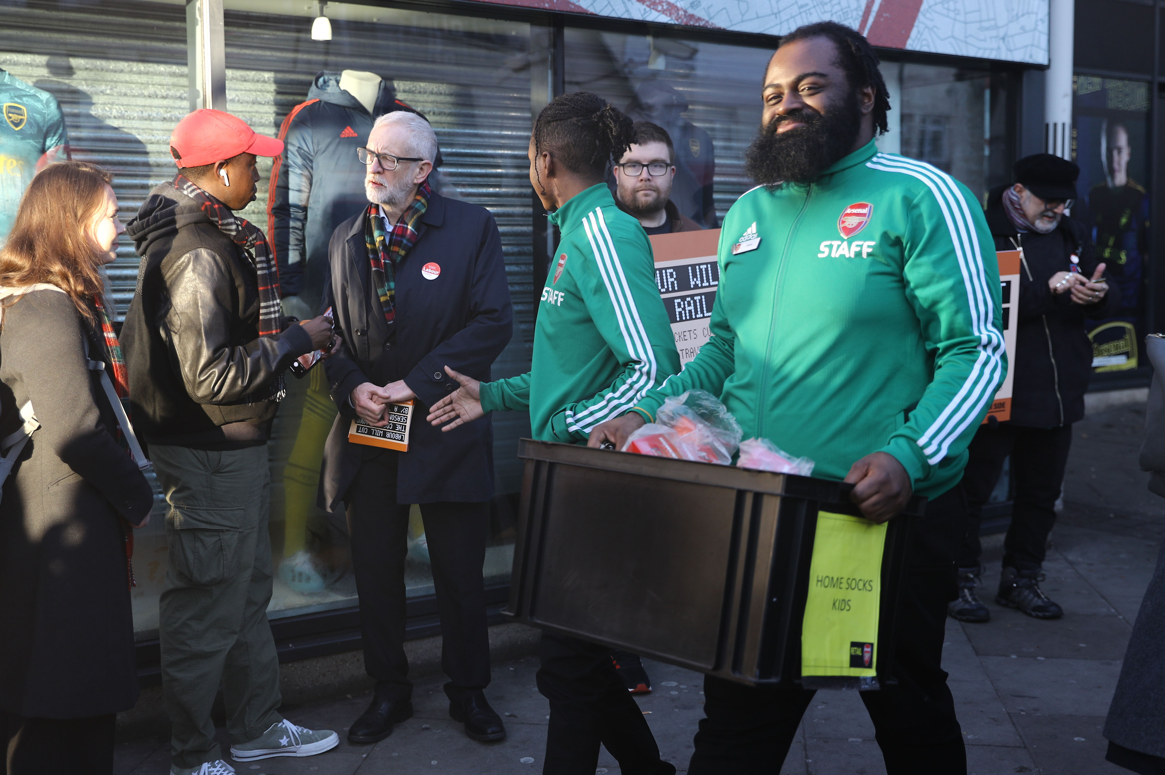 Labour leader, Jeremy Corbyn (centre left) leafleting outside Finsbury Park station, London, whilst on the General Election campaign trail.
