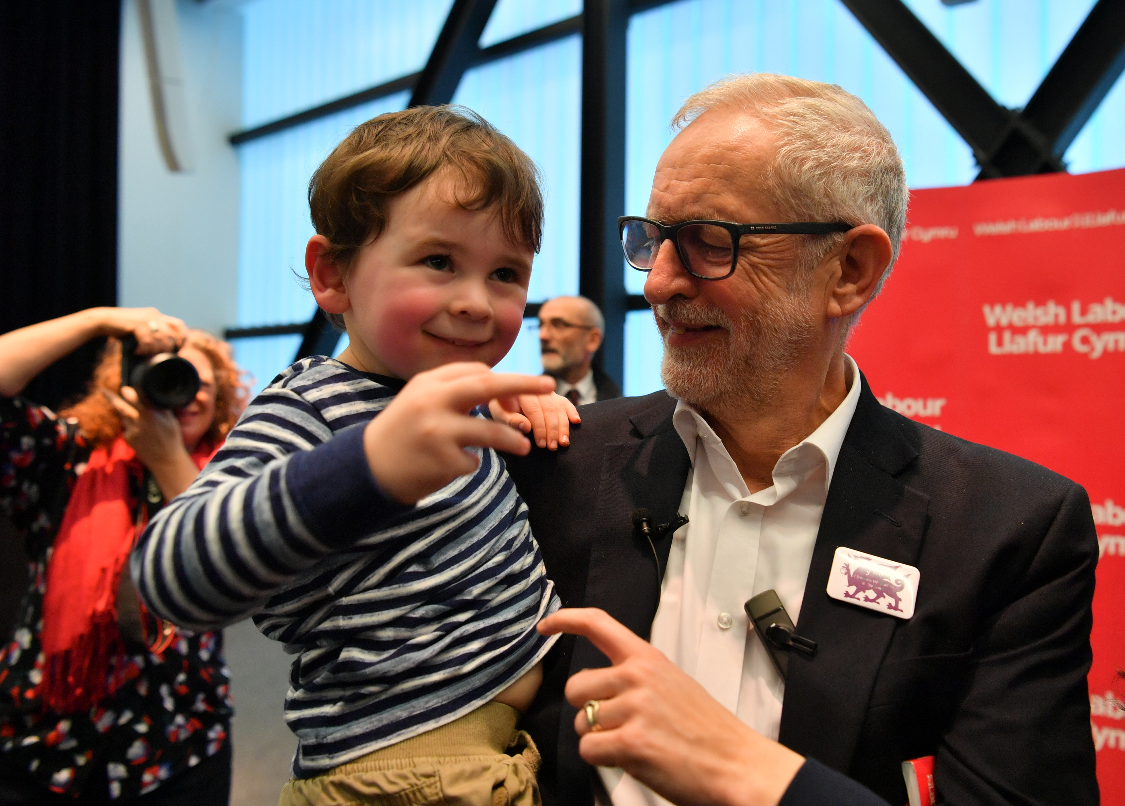 Labour Leader Jeremy Corbyn with three years old Noa Williams Roberts after addressing a members' rally at Bangor University, while on the General Election campaign trail in Wales.