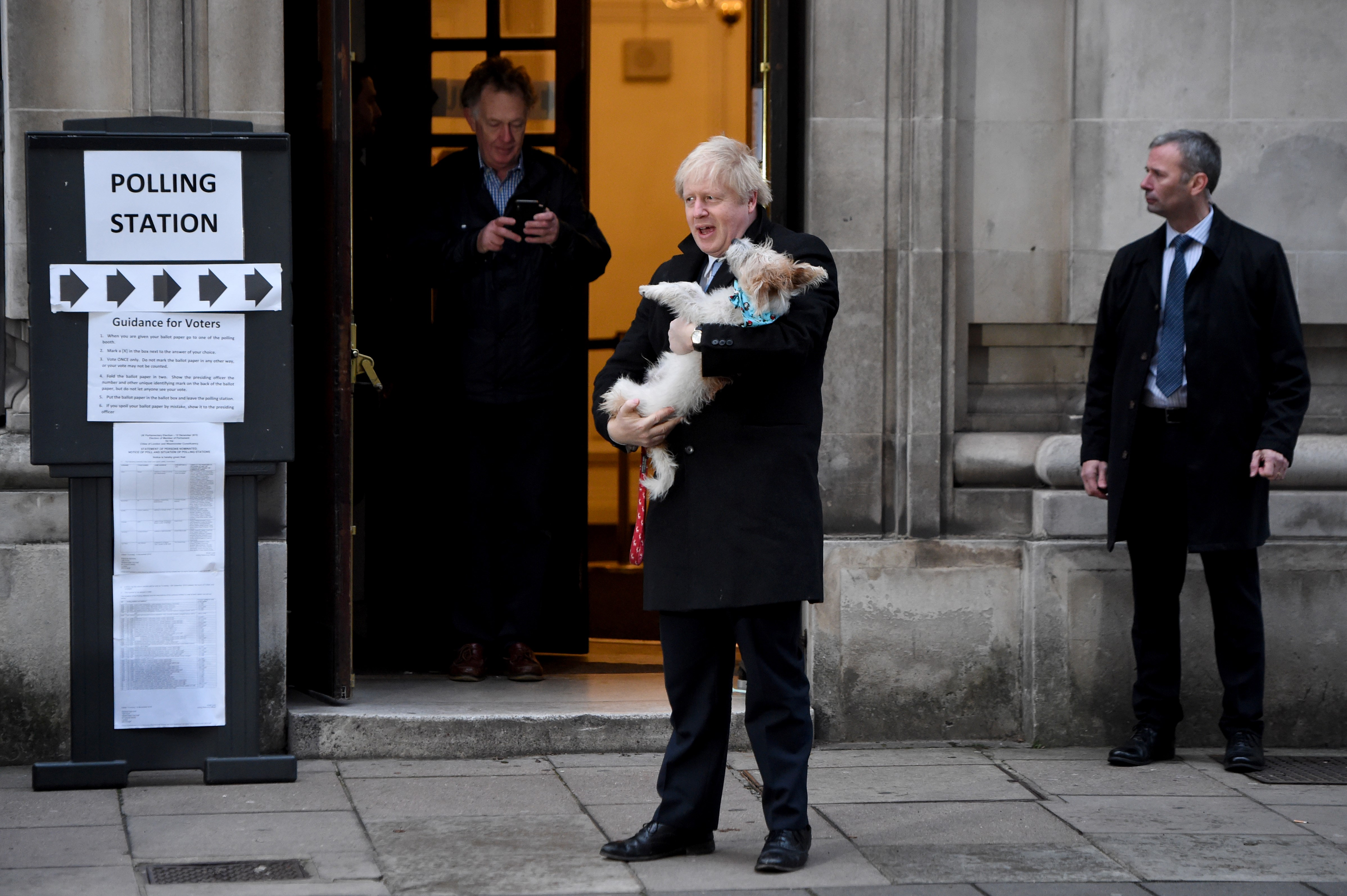 LONDON, UNITED KINGDOM - DECEMBER 12: UK Prime Minister Boris Johnson departs after casting his vote at Methodist Hall polling station on December 12, 2019 in London, England. The current Conservative Prime Minister Boris Johnson called the first UK winter election for nearly a century in an attempt to gain a working majority to break the parliamentary deadlock over Brexit. The election results from across the country are being counted overnight and an overall result is expected in the early hours of Friday morning. (Photo by Kate Green/Anadolu Agency via Getty Images)