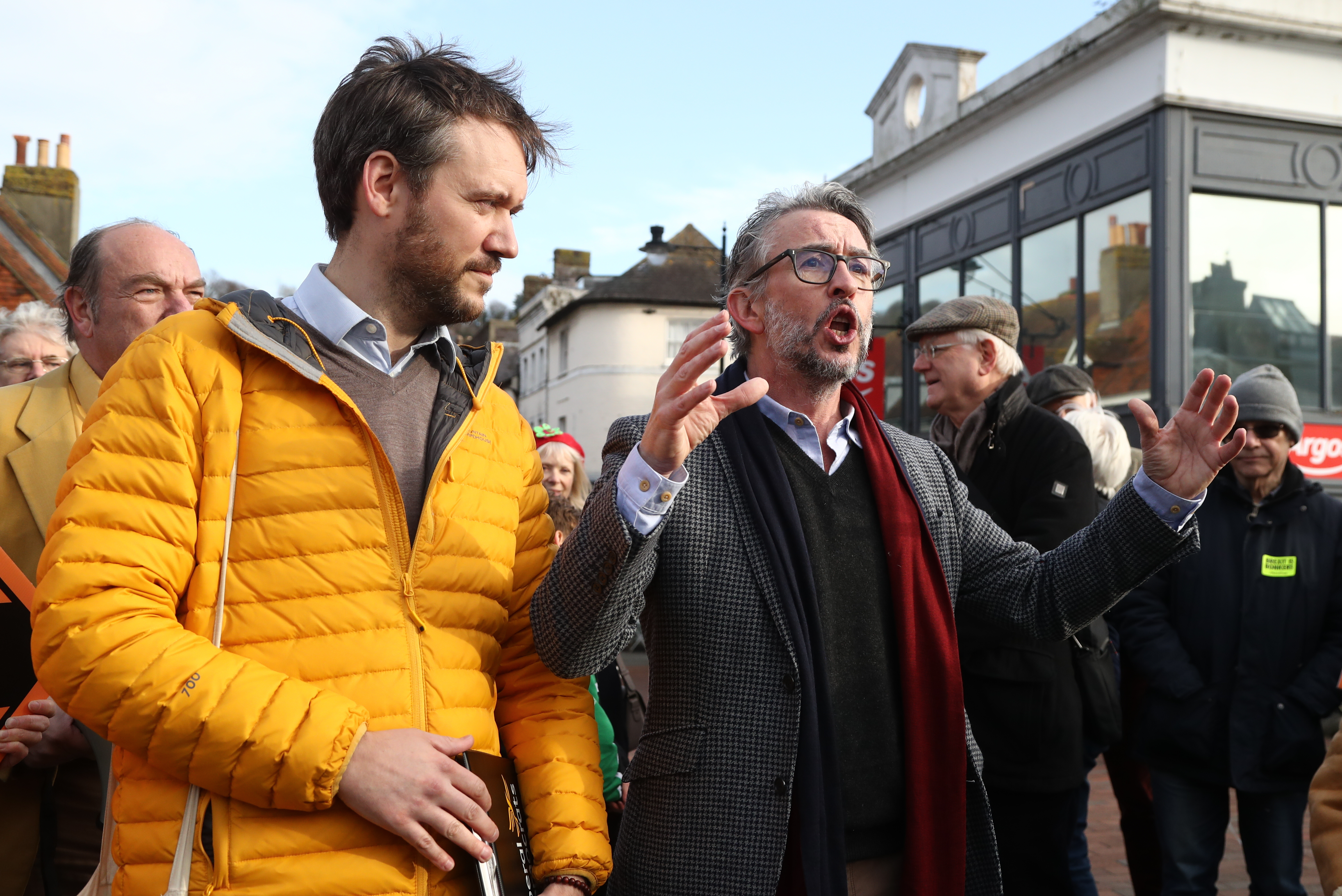 Actor Steve Coogan canvassing in Lewes, in the Lewes constituency with Liberal Democrat candidate Oliver Henman.