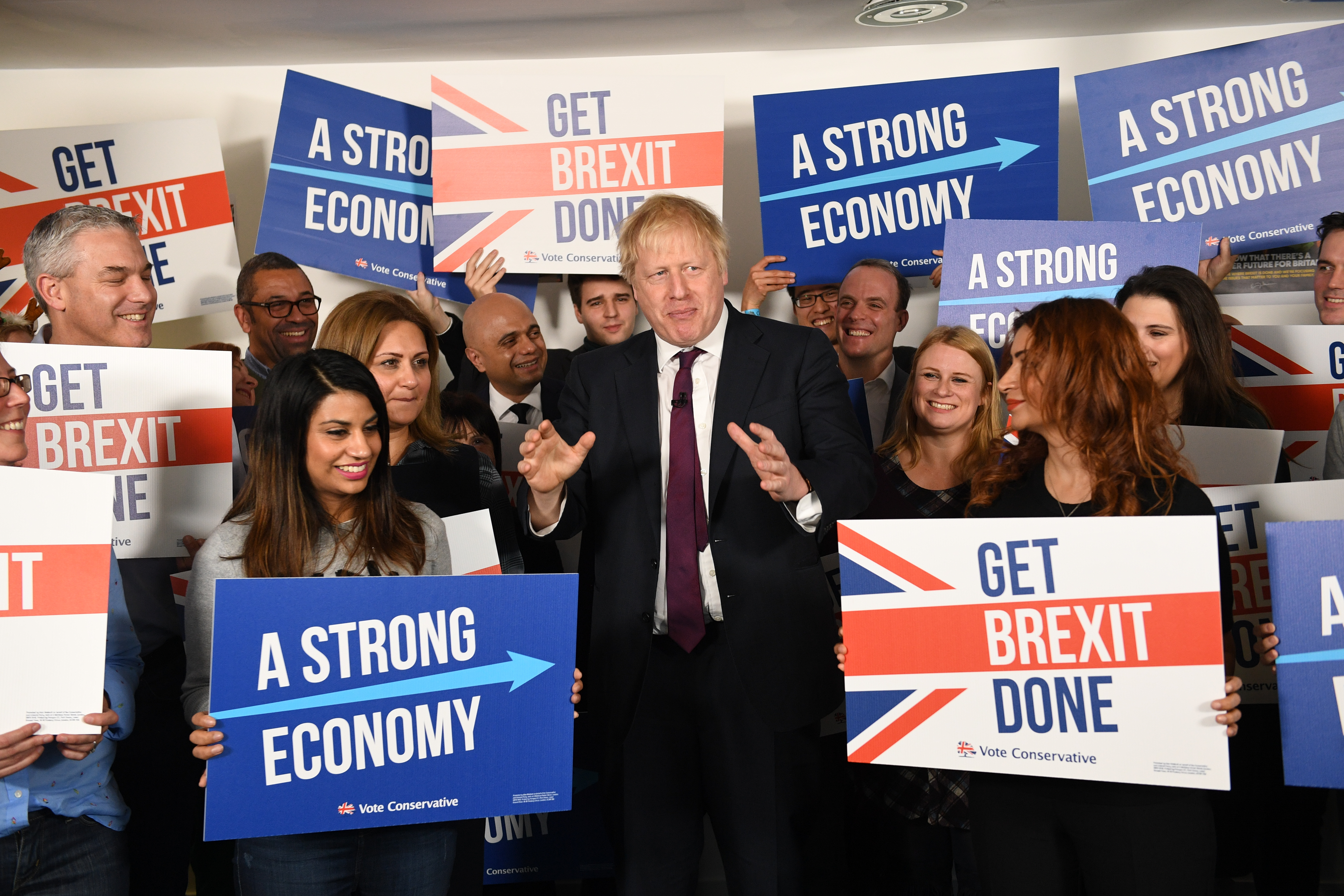 Prime Minister Boris Johnson at Conservative Campaign Headquarters Call Centre, London, while on the election campaign trail.