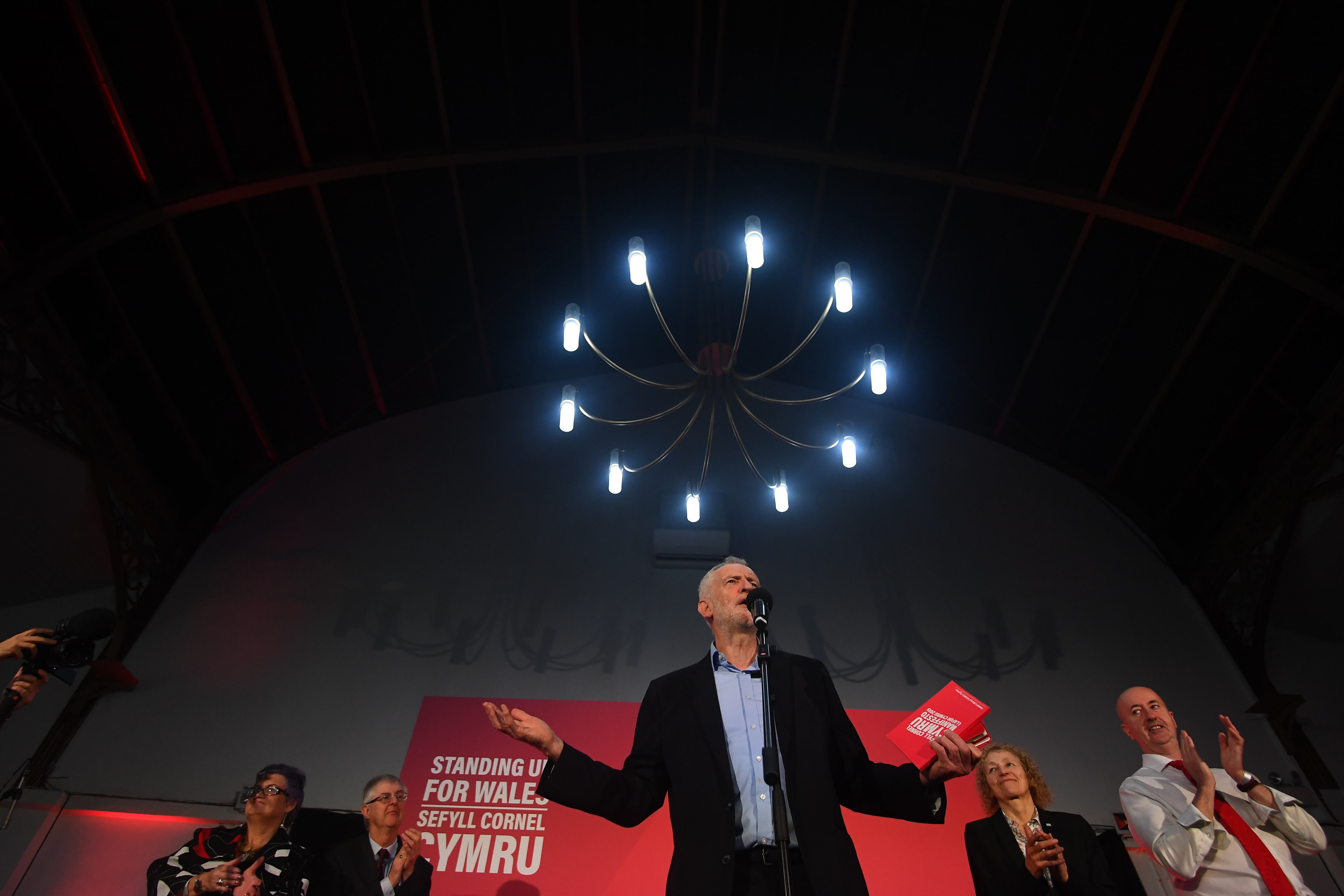Labour Party leader Jeremy Corbyn speaking at the Patti Pavilion in Swansea, while on the General Election campaign trail in Wales.