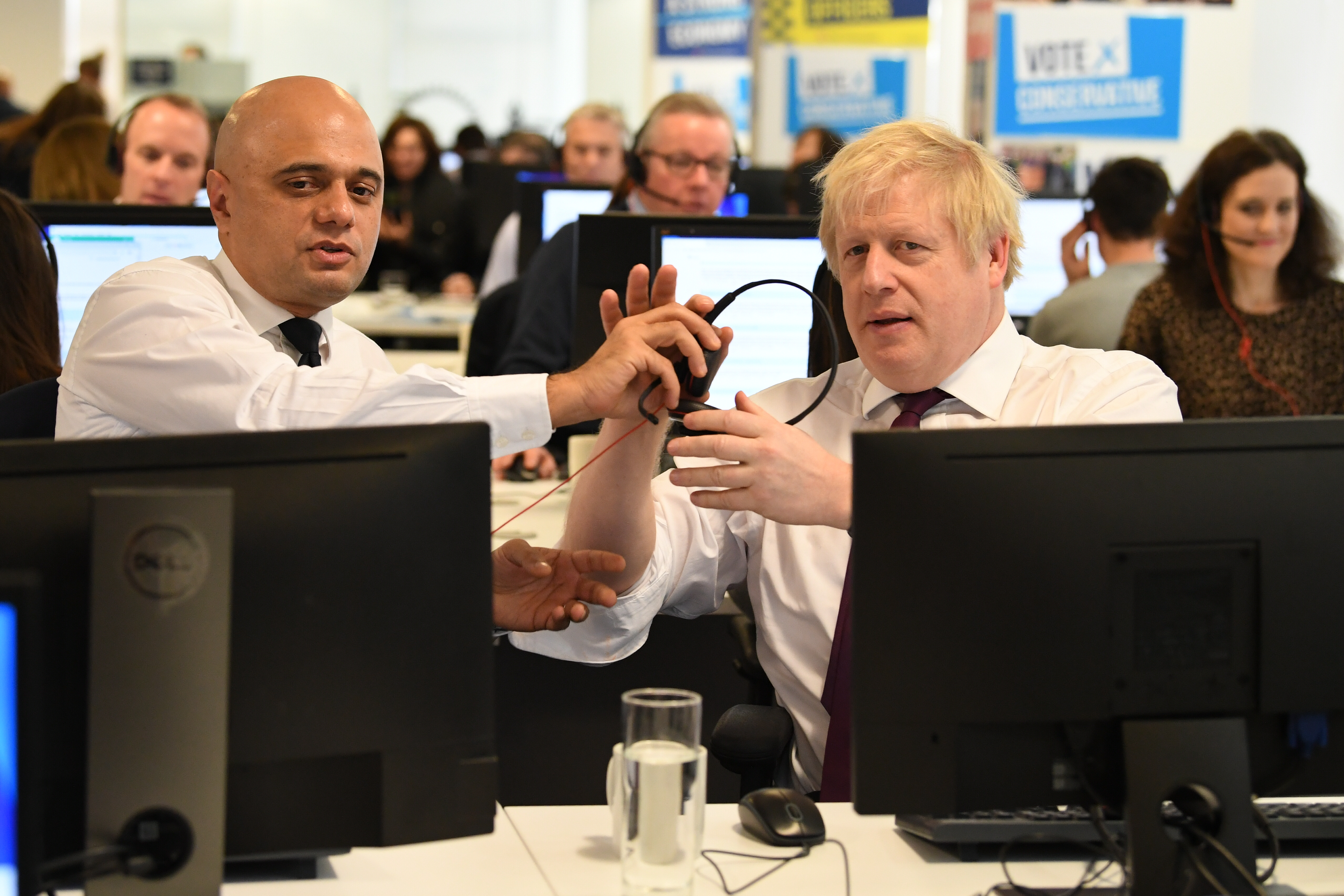 Prime Minister Boris Johnson and Chancellor Sajid Javid with other members of the Cabinet at Conservative Campaign Headquarters Call Centre, London, while on the election campaign trail.