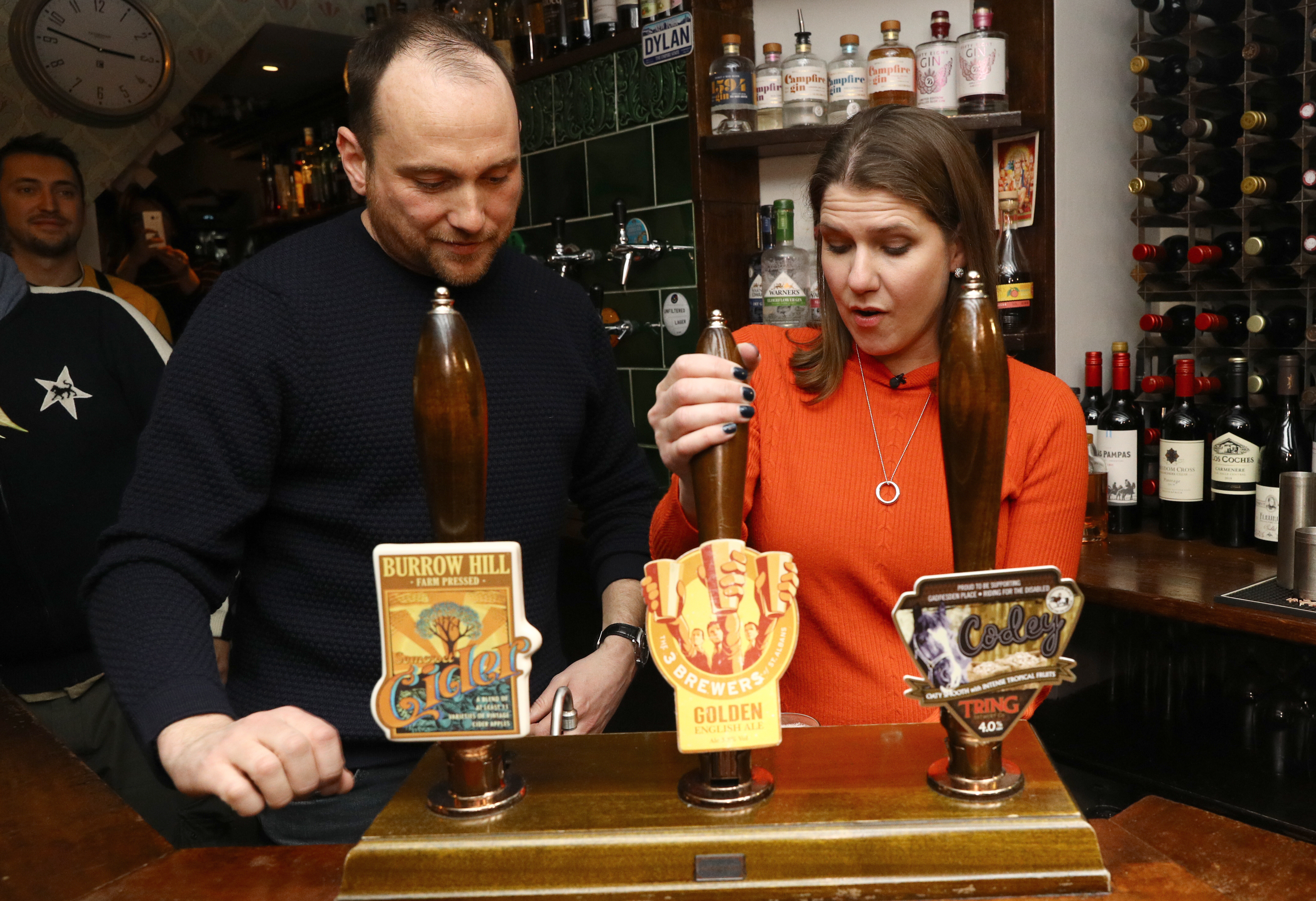 Liberal Democrat Leader Jo Swinson pulls a pint in Dylans - The Kings Arms on Small Business Saturday during her visit to St Albans, while on the General Election campaign trail.