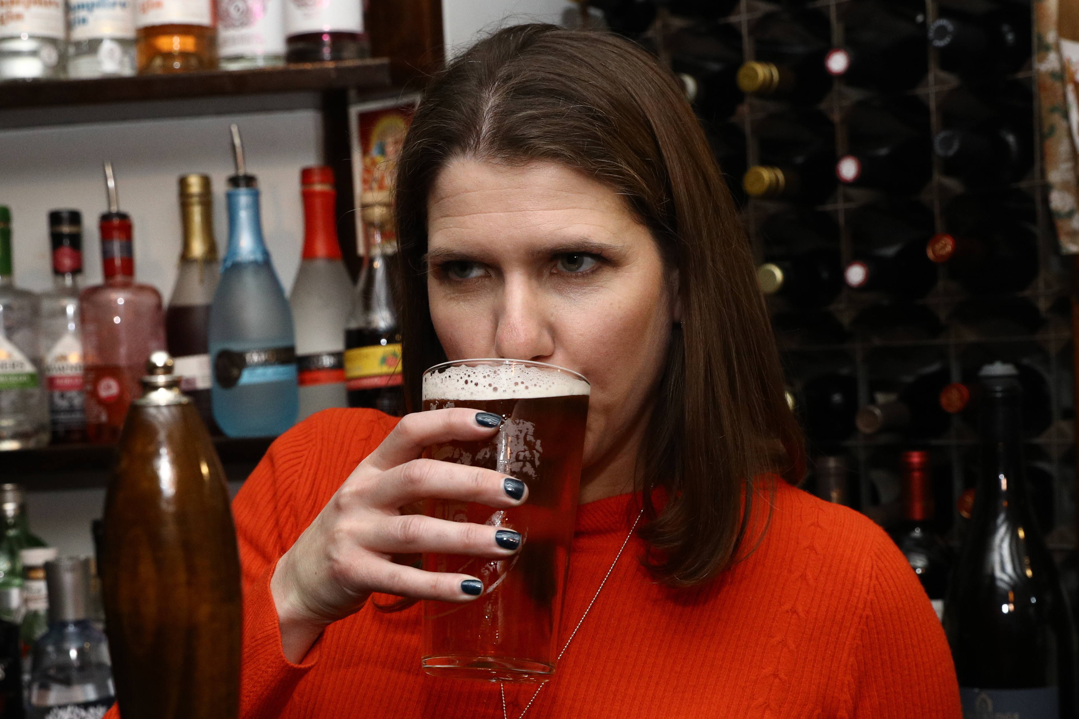 Liberal Democrat Leader Jo Swinson enjoys a pint in Dylans - The Kings Arms on Small Business Saturday during her visit to St Albans, while on the General Election campaign trail.