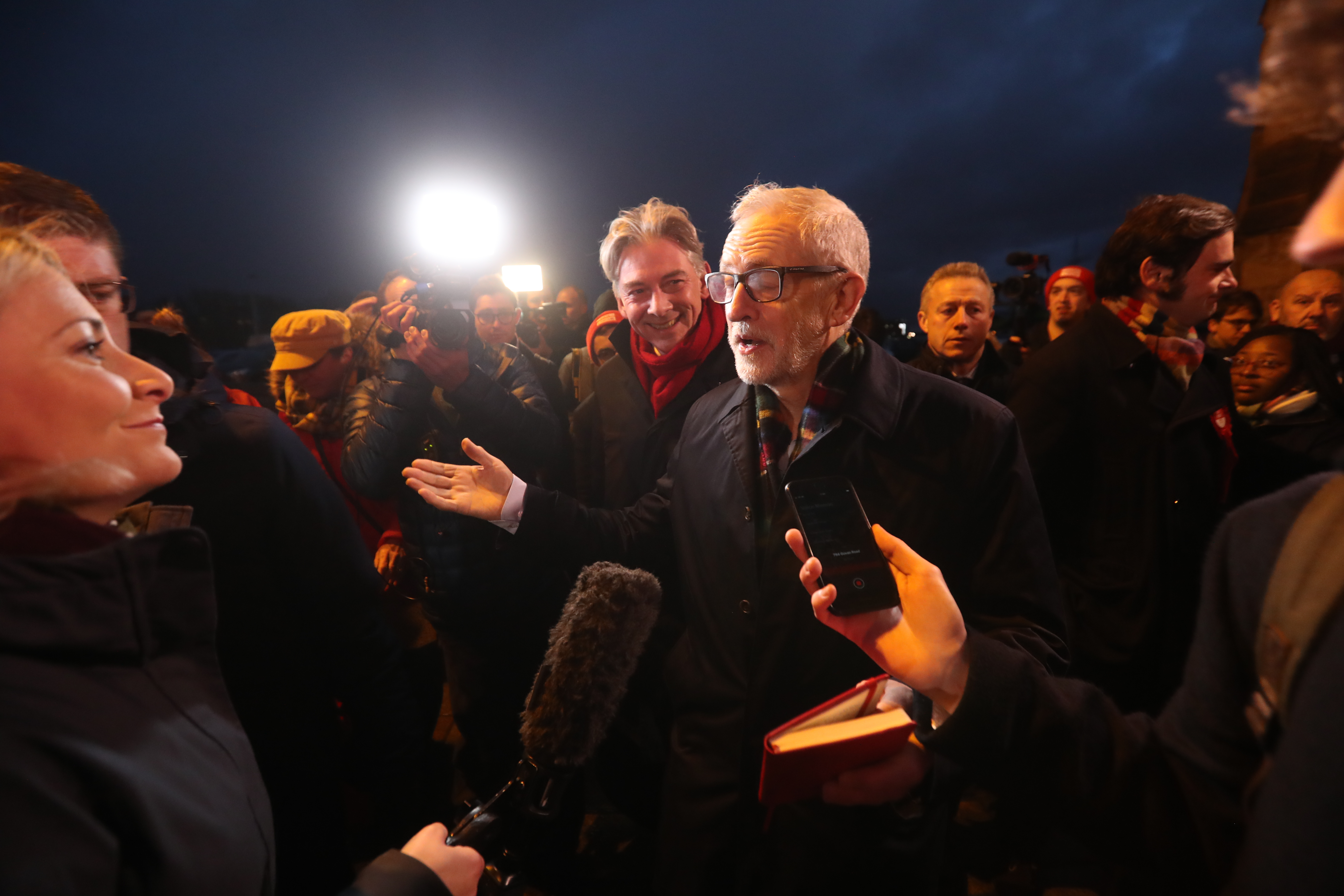 Labour leader Jeremy Corbyn speaks to the media at the start of the final day of General Election campaigning in Glasgow.